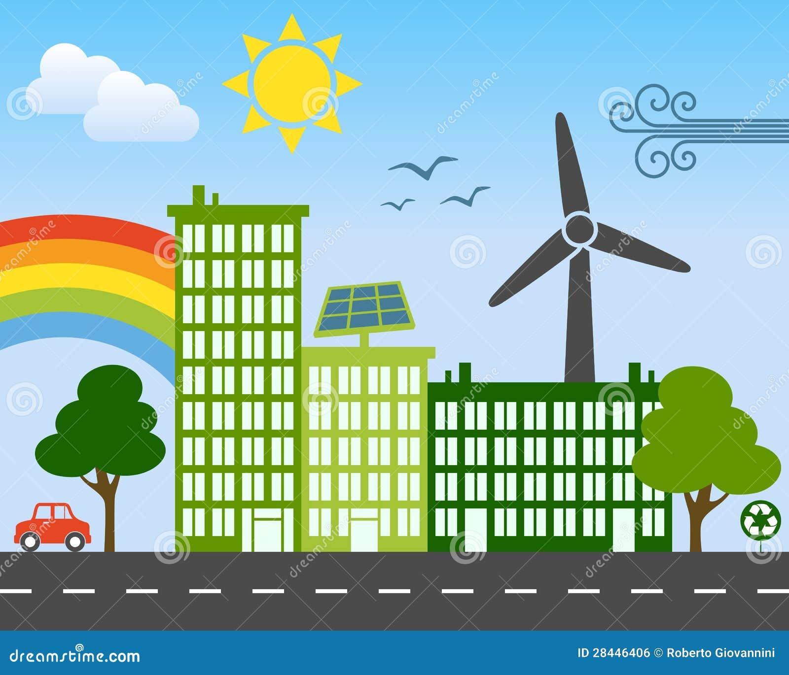 Conceito verde da cidade da energia