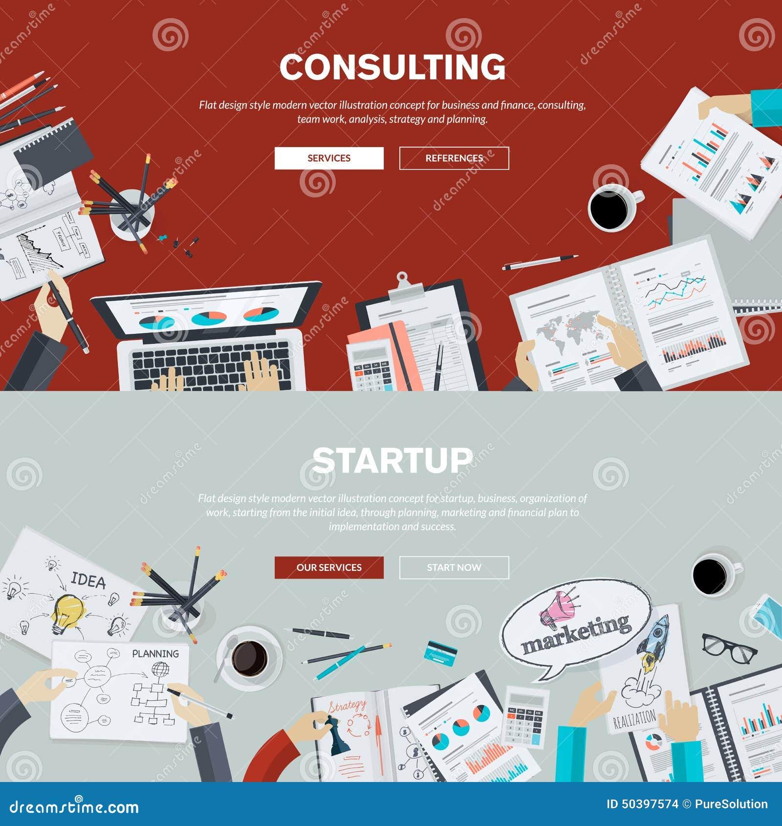 Conceitos lisos da ilustração do projeto para a consultoria empresarial e a partida