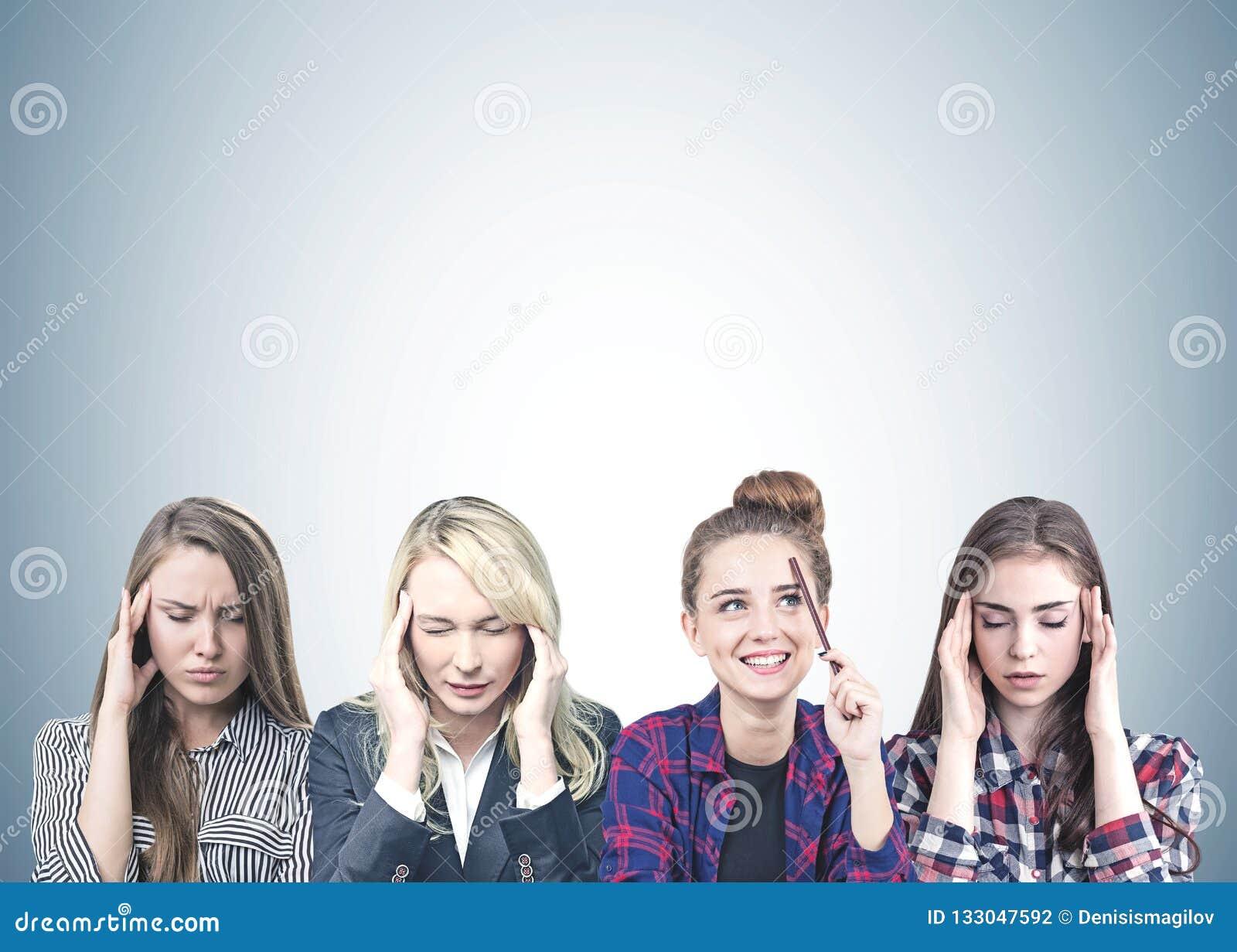 Conceituar de quatro mulheres, cinzento