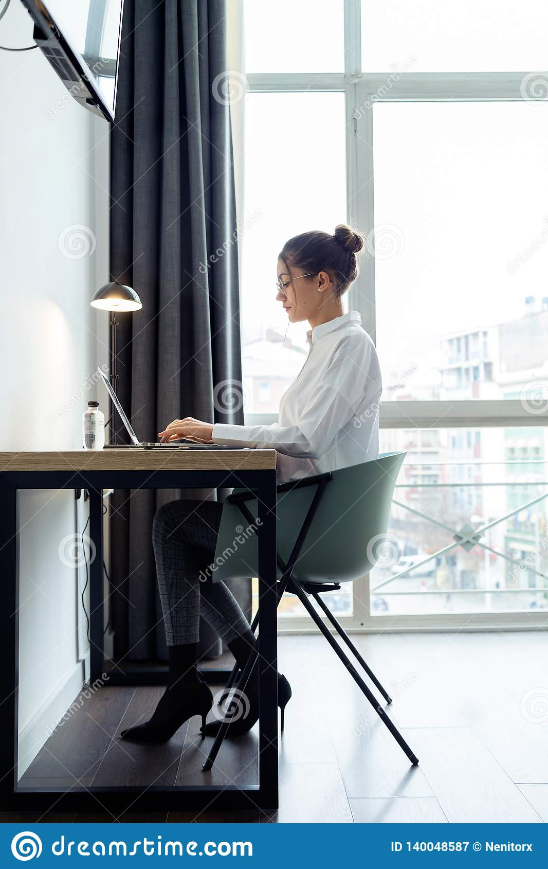 Hotel Room Desk: Concentrated Beautiful Businesswoman Working With Her