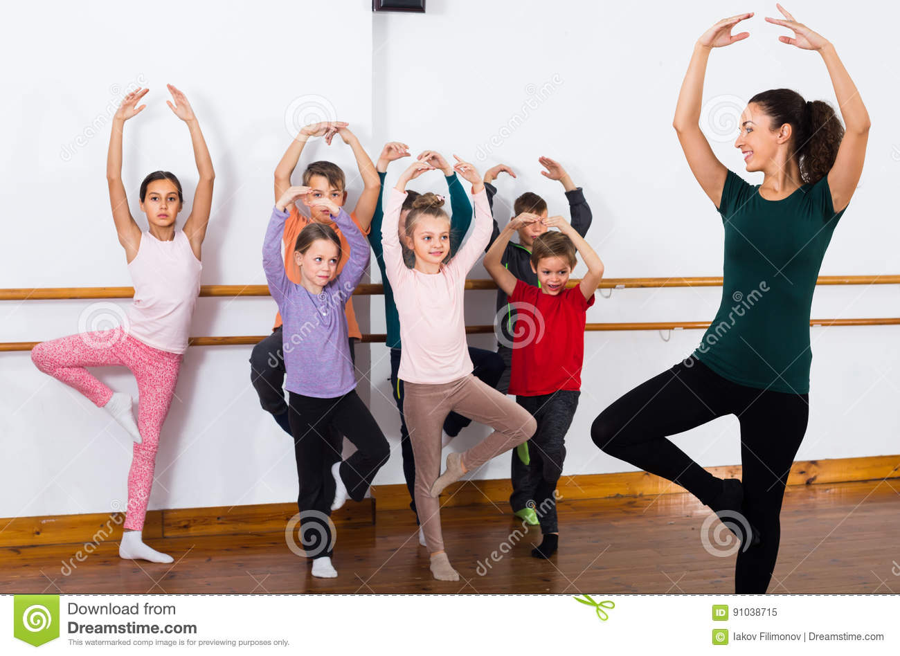 Concentrated Boys And Girls Rehearsing Ballet Dance In Studio Stock Image - Image -5478