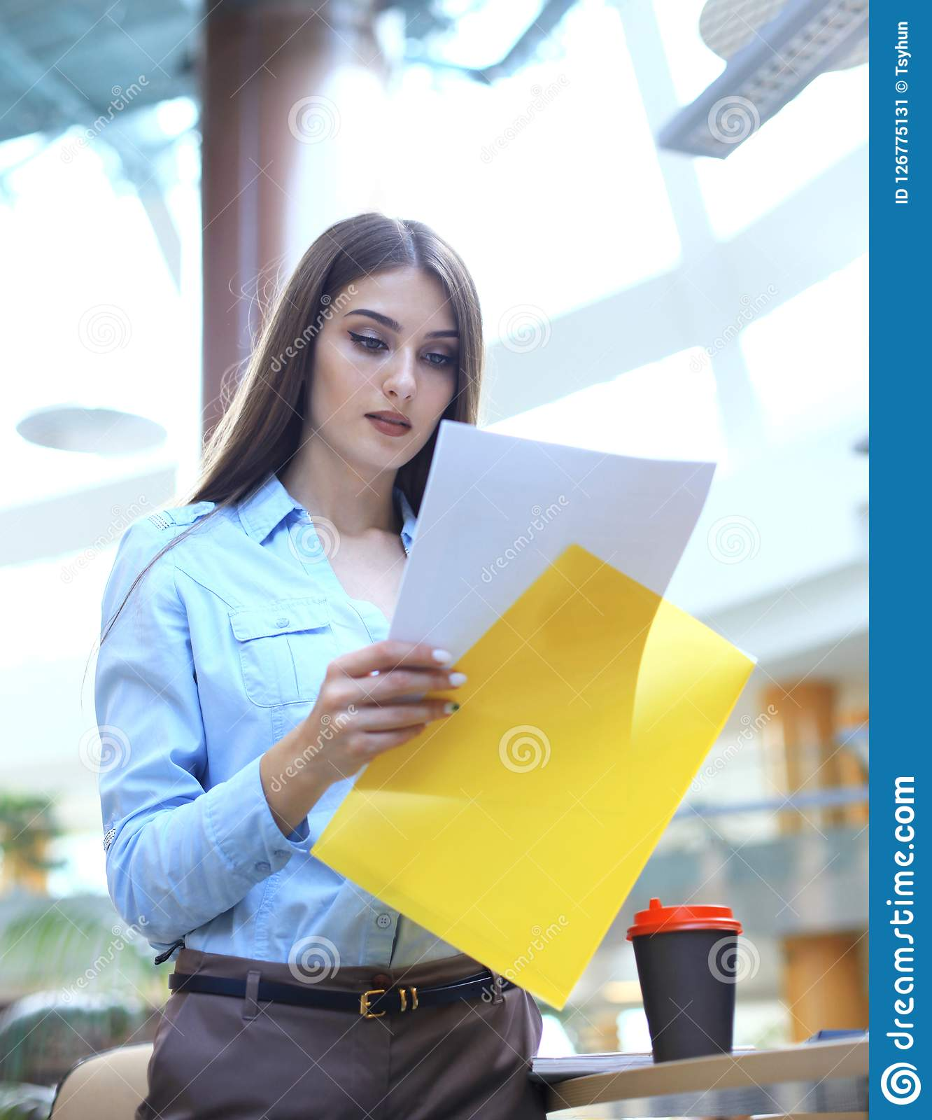 Concentrated business lady comparing documents at office. Concentrated business lady comparing documents at office Stock Image