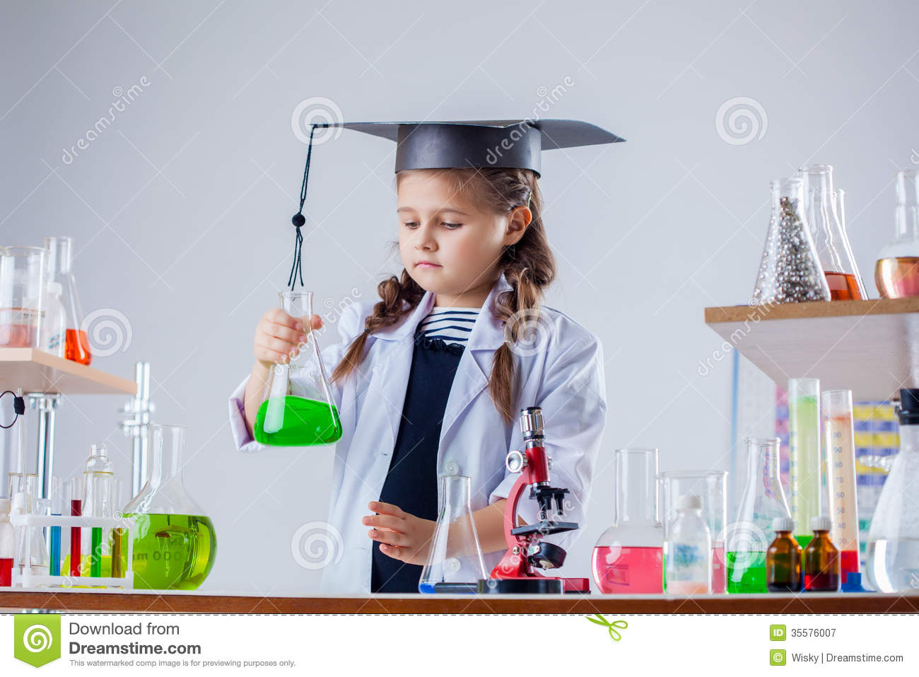Concentrated Little Girl Posing In Chemistry Lab Royalty Free – Lab Chemist
