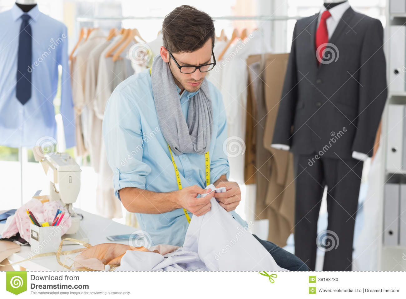 Concentrated Male Fashion Designer At Work Stock Photo ...