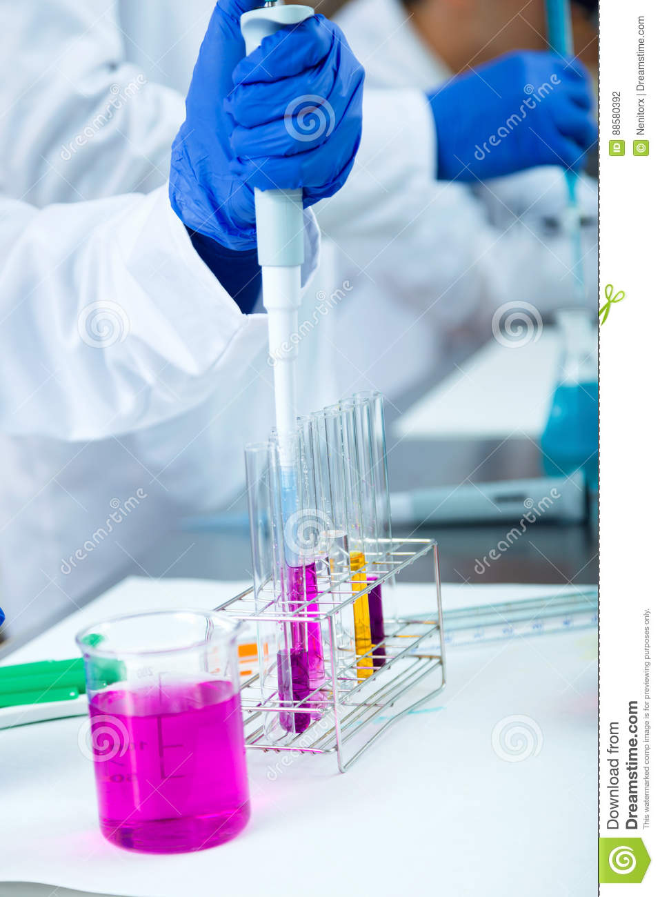 Concentrated scientist making experiment in laboratory.