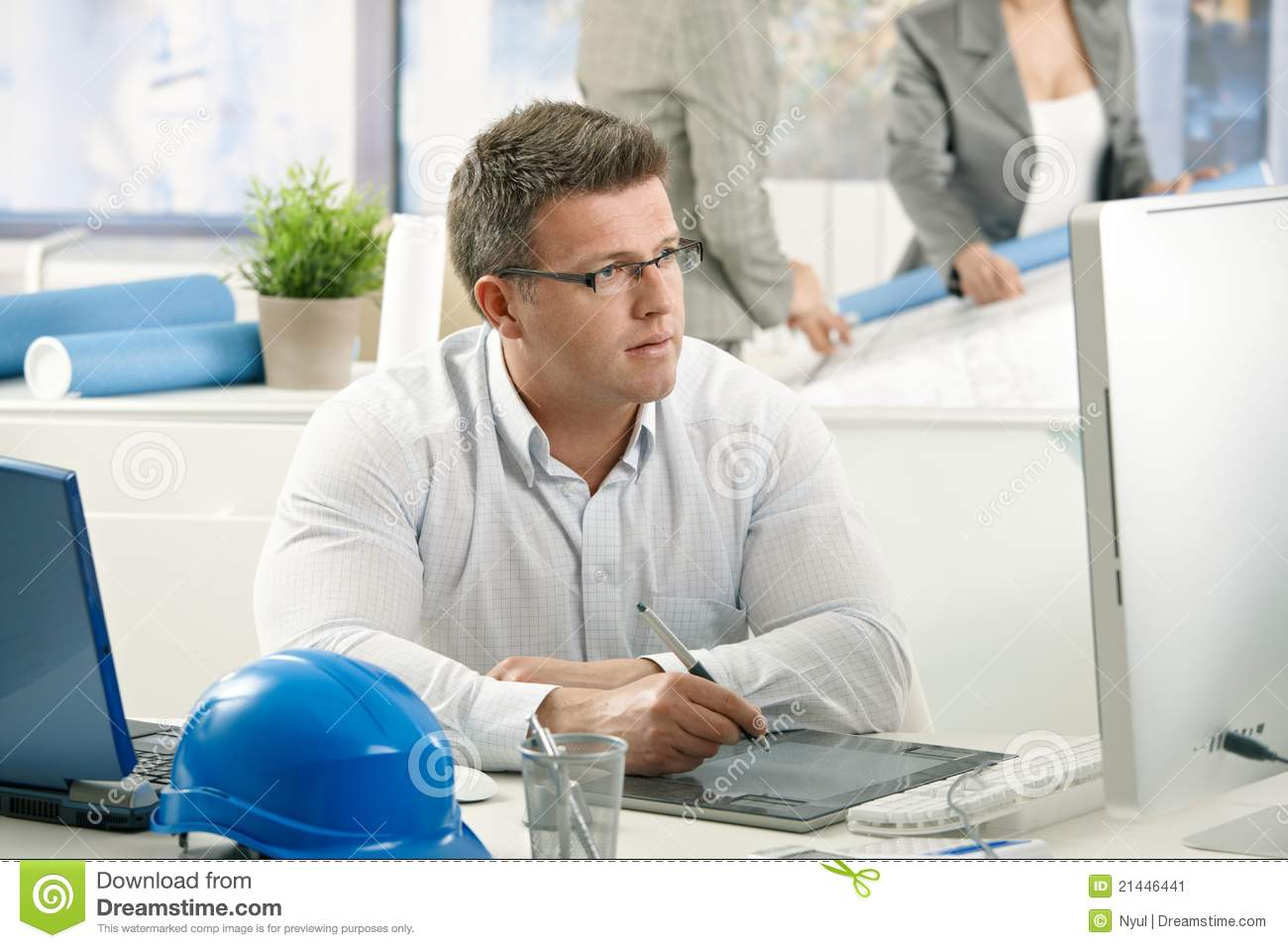 Concentrating Architect At Work Stock Image - Image: 21446441