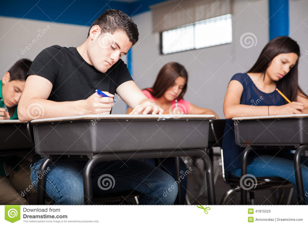 concentrating during a test stock photo image 41815523