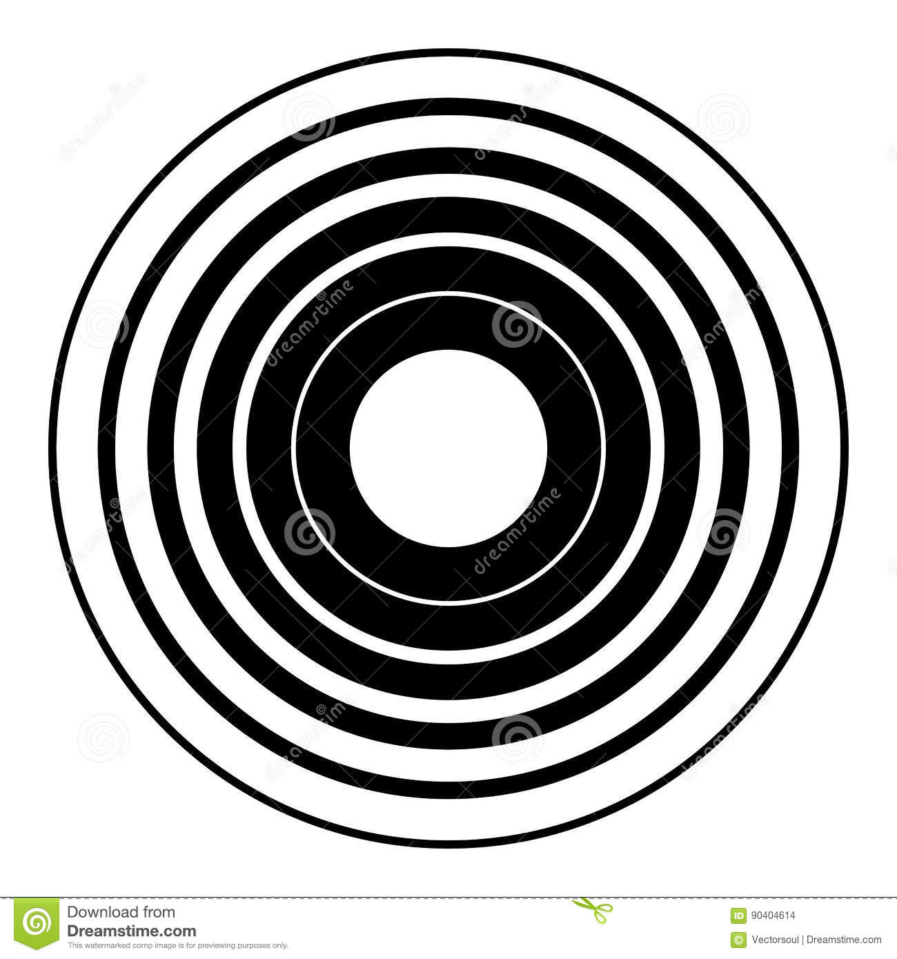 Concentric circles geometric element. Radial, radiating circular
