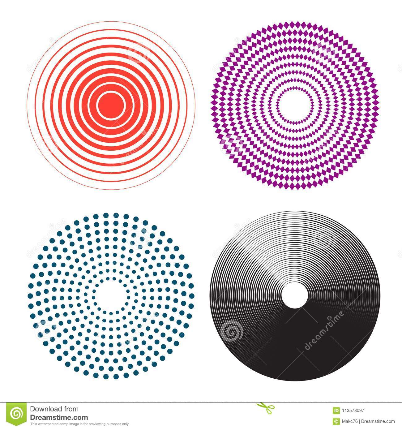 Concentric circles, radial lines pattern. Pain circle