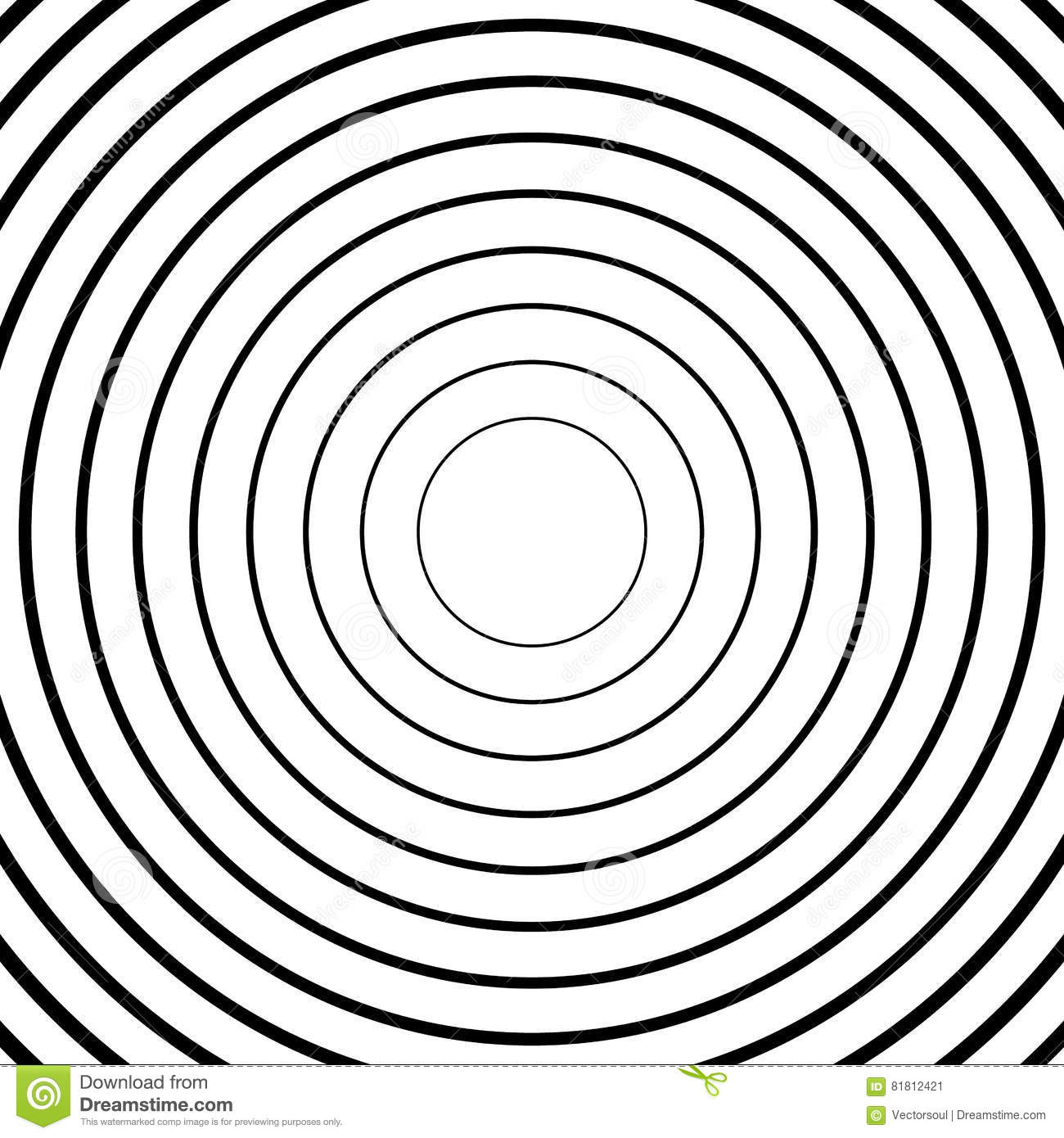 Concentric Circles, Radial Lines Patterns  Monochrome
