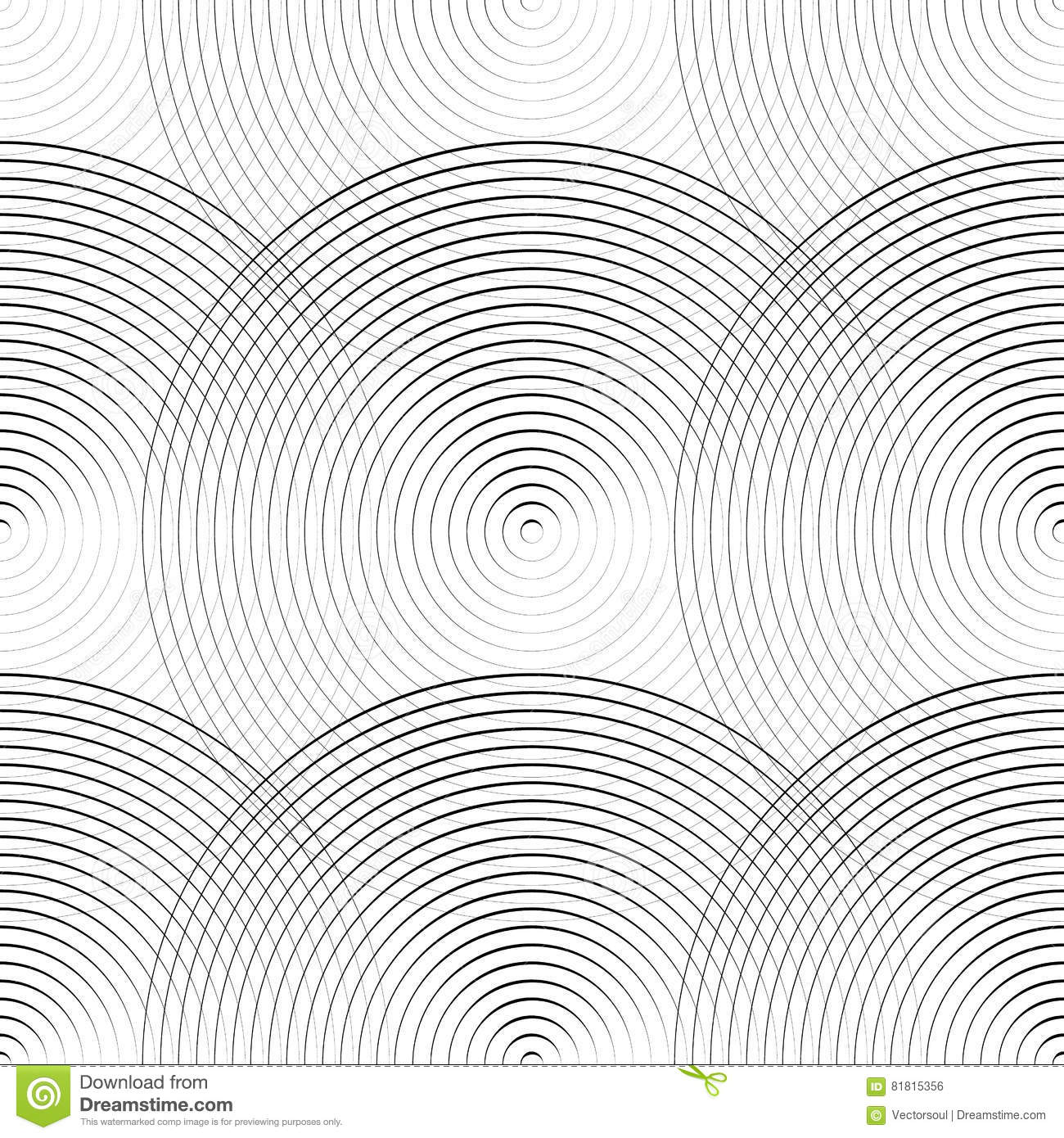 Concentric circles seamless monochrome pattern. Abstract geometry background