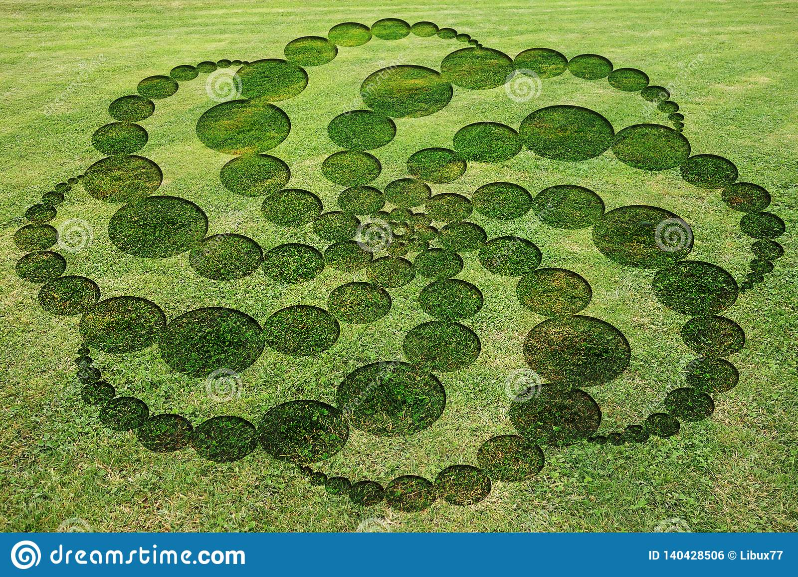 Concentric circles spirals encrypted symbols fake crop circle meadow