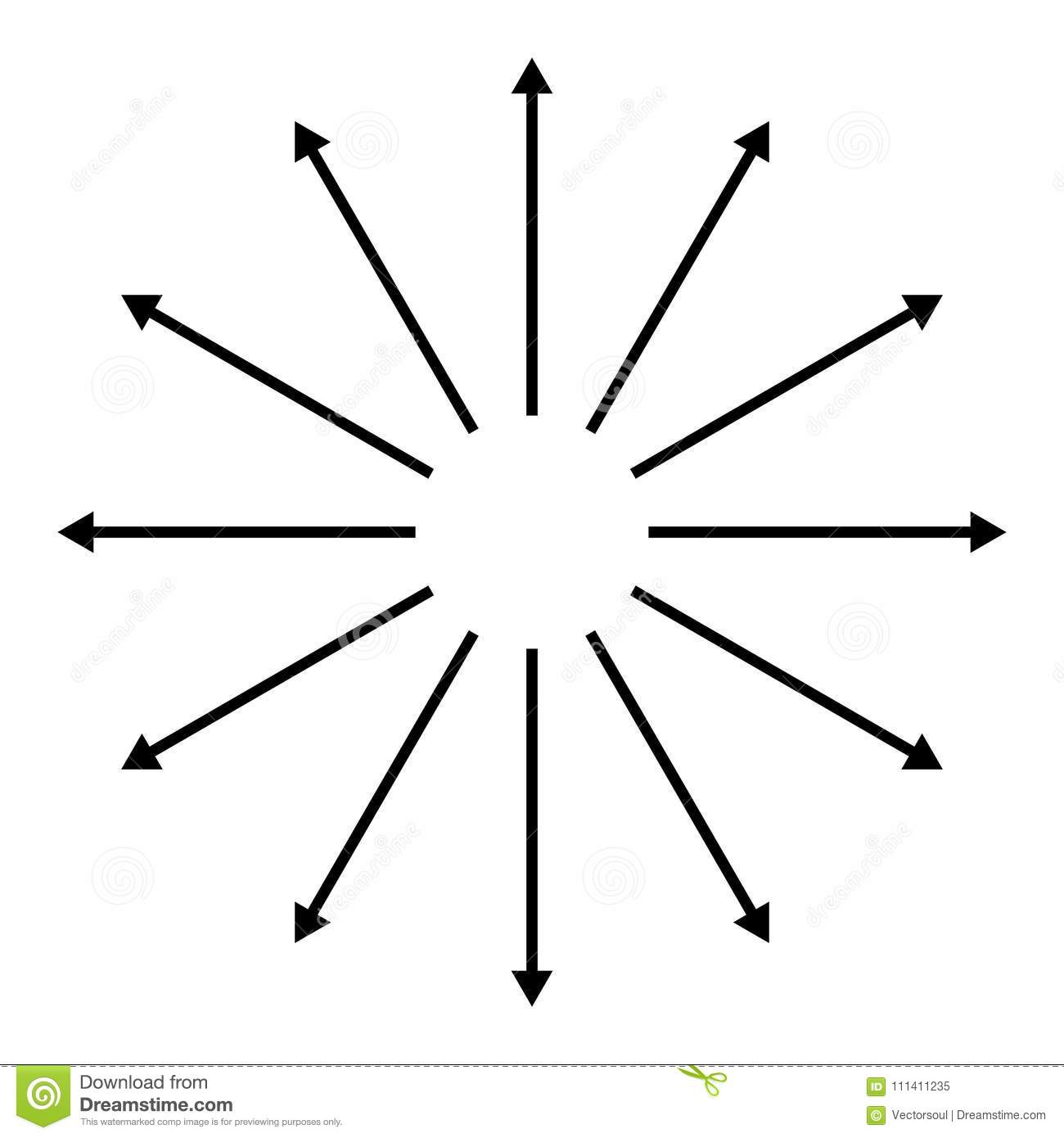 Concentric, radial, radiating arrows. Circular arrow element