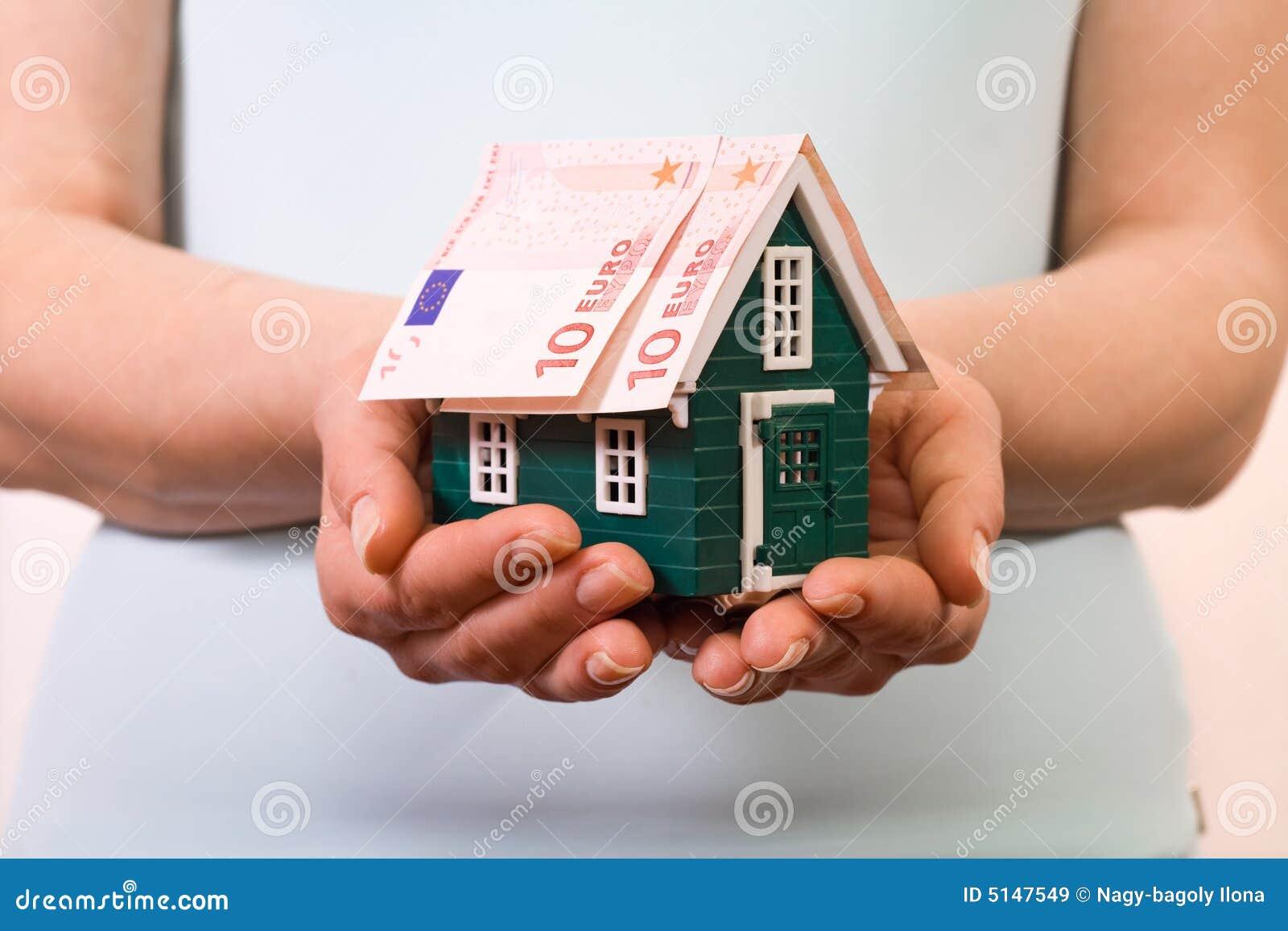 Concept la maison d 39 assurance avec d 39 euro billets de for Assurance maison avec dossier criminel