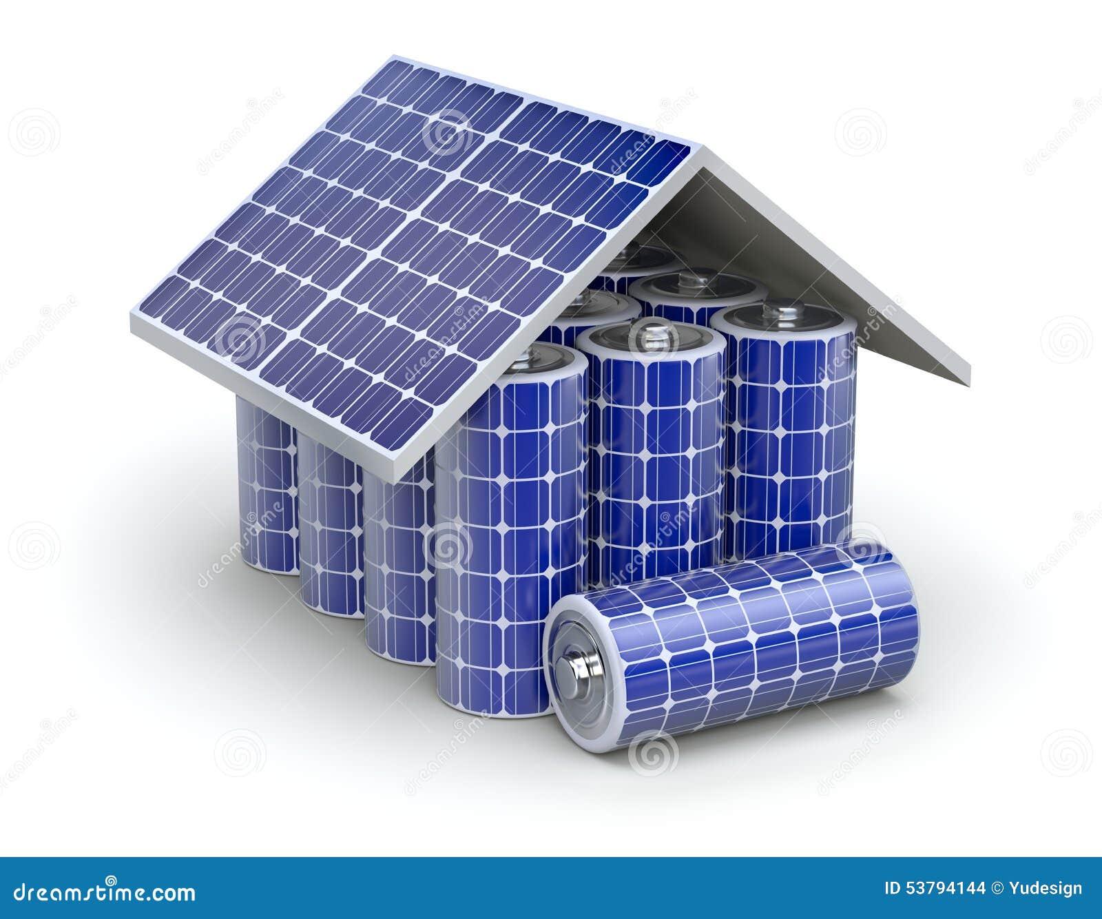 Concept la maison solaire de batterie illustration stock image 53794144 - Prix panneau solaire pour maison ...