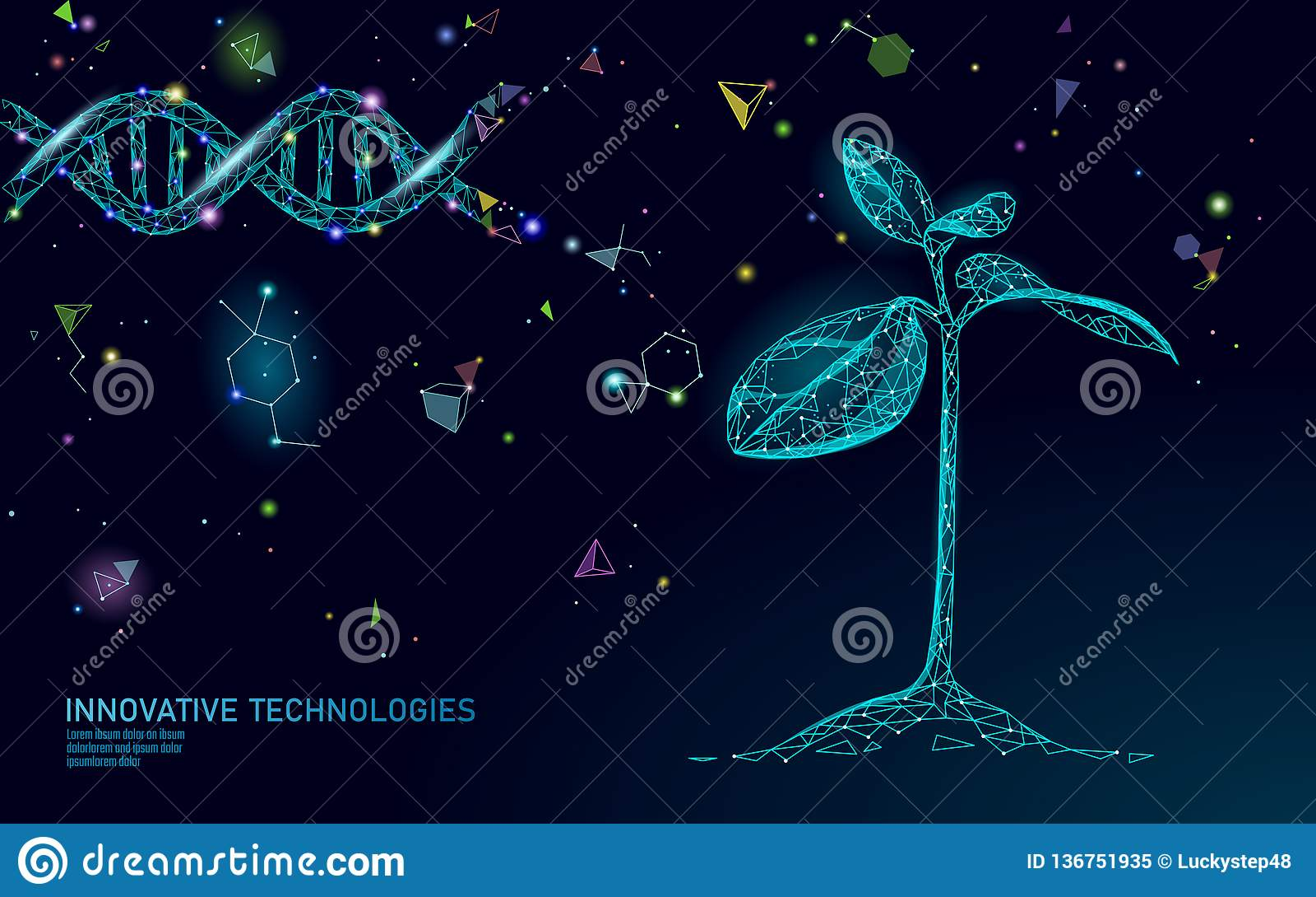 Concept abstrait de biotechnologie de pousse d usine 3D rendent la jeune plante que l arbre laisse le génome d ADN machinant le s
