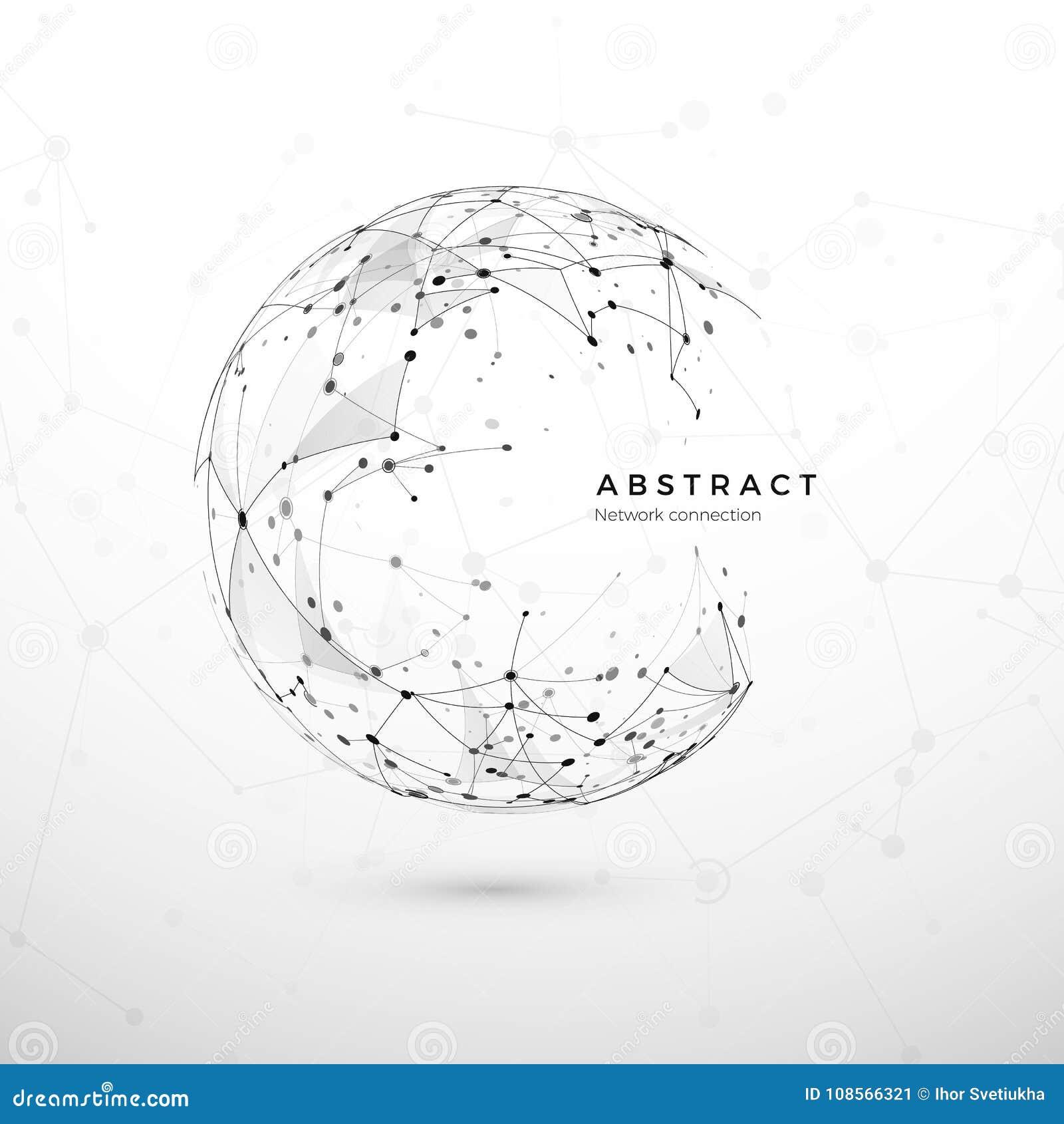 Concept abstrait de réseau global Structure de Web, filet de noeud Points et maille de connexion Fond de cyberespace de technolog