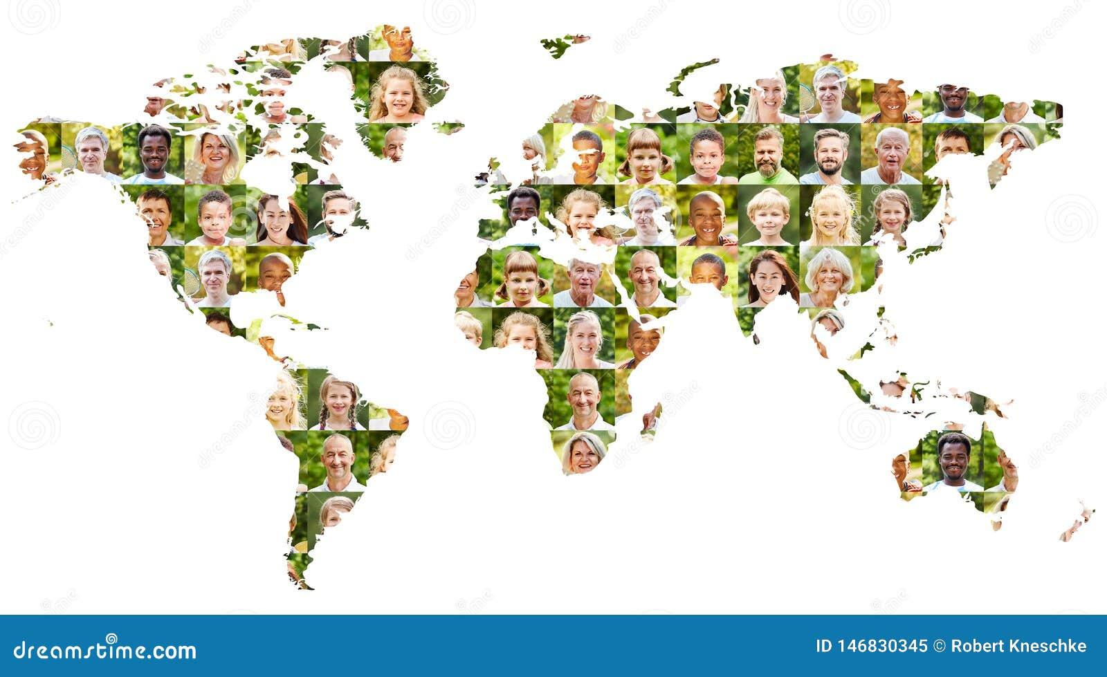 Concept actif de population mondiale avec le collage de portrait