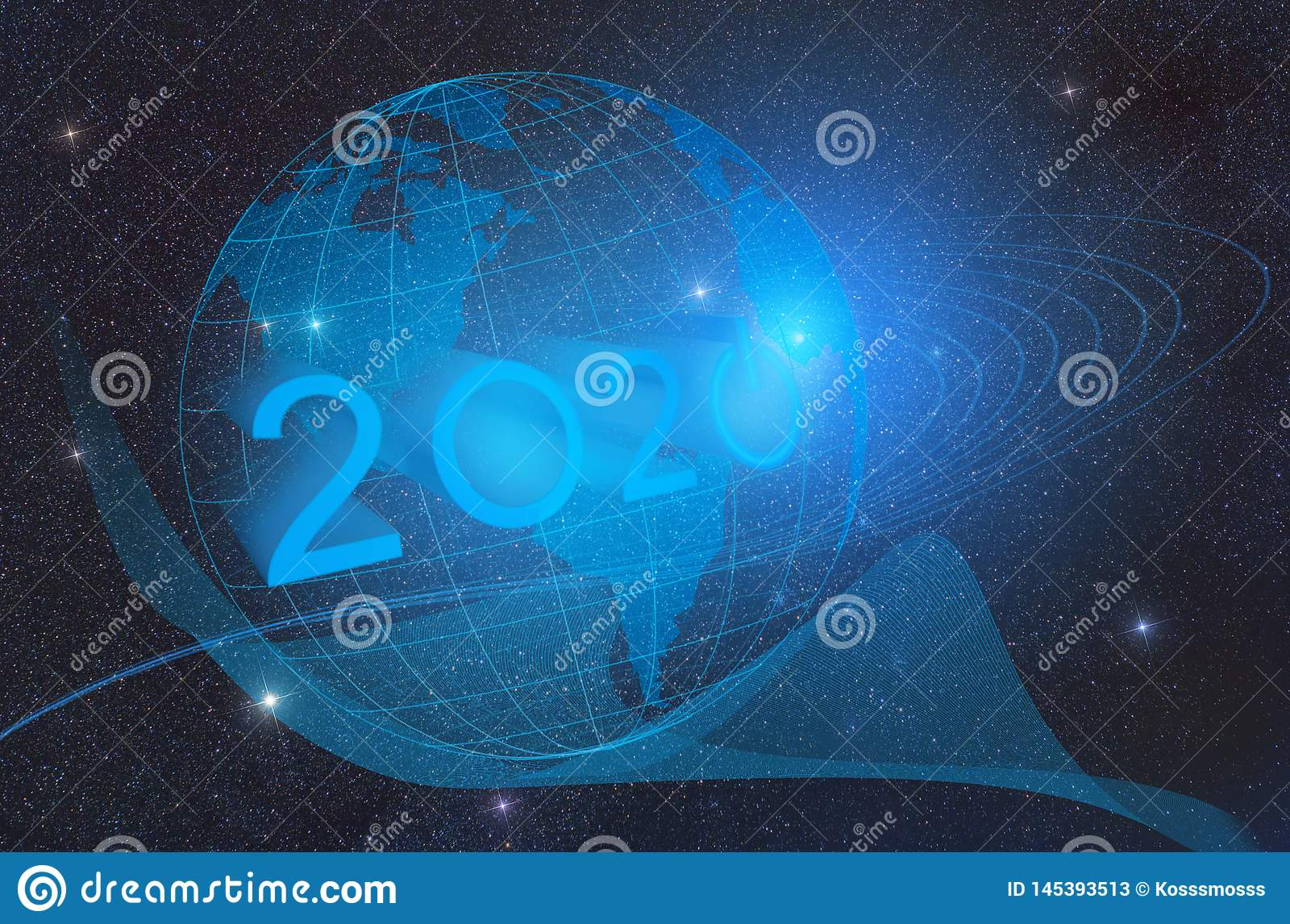 The concept of the advent of the new technological year 2020 and the development of artificial intelligence on the planet earth.