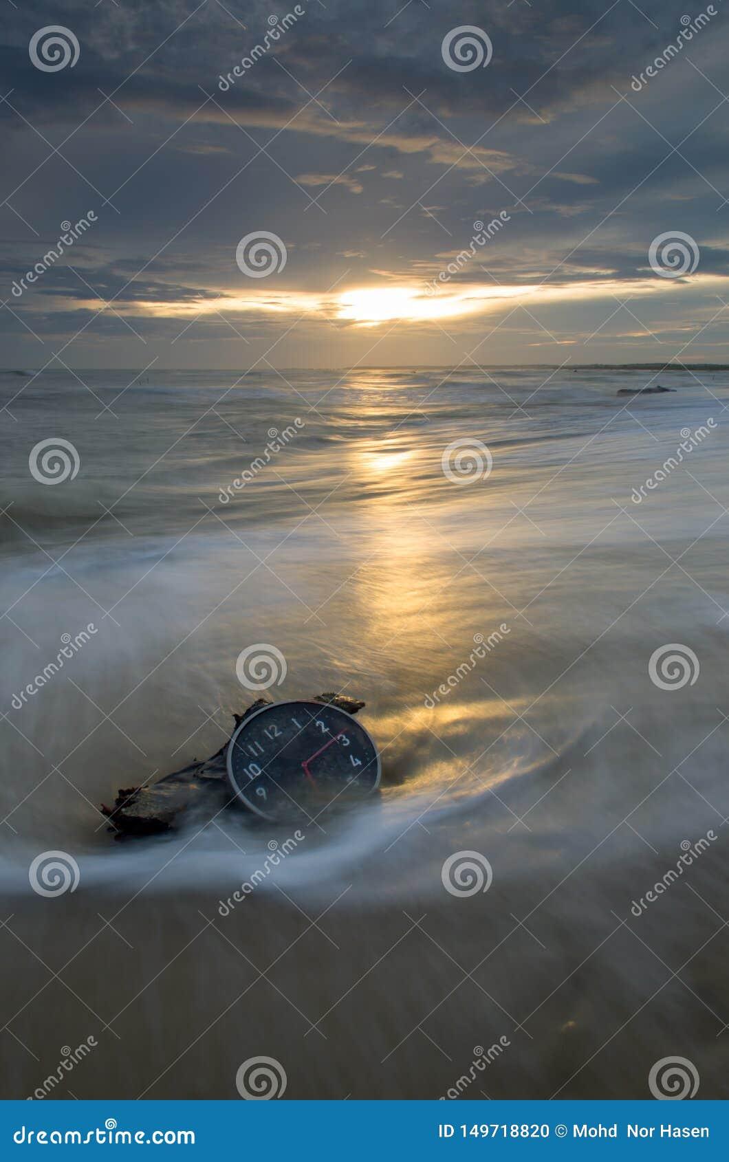 Concept Alarm Clock On Beach Of Island Stock Photo Image