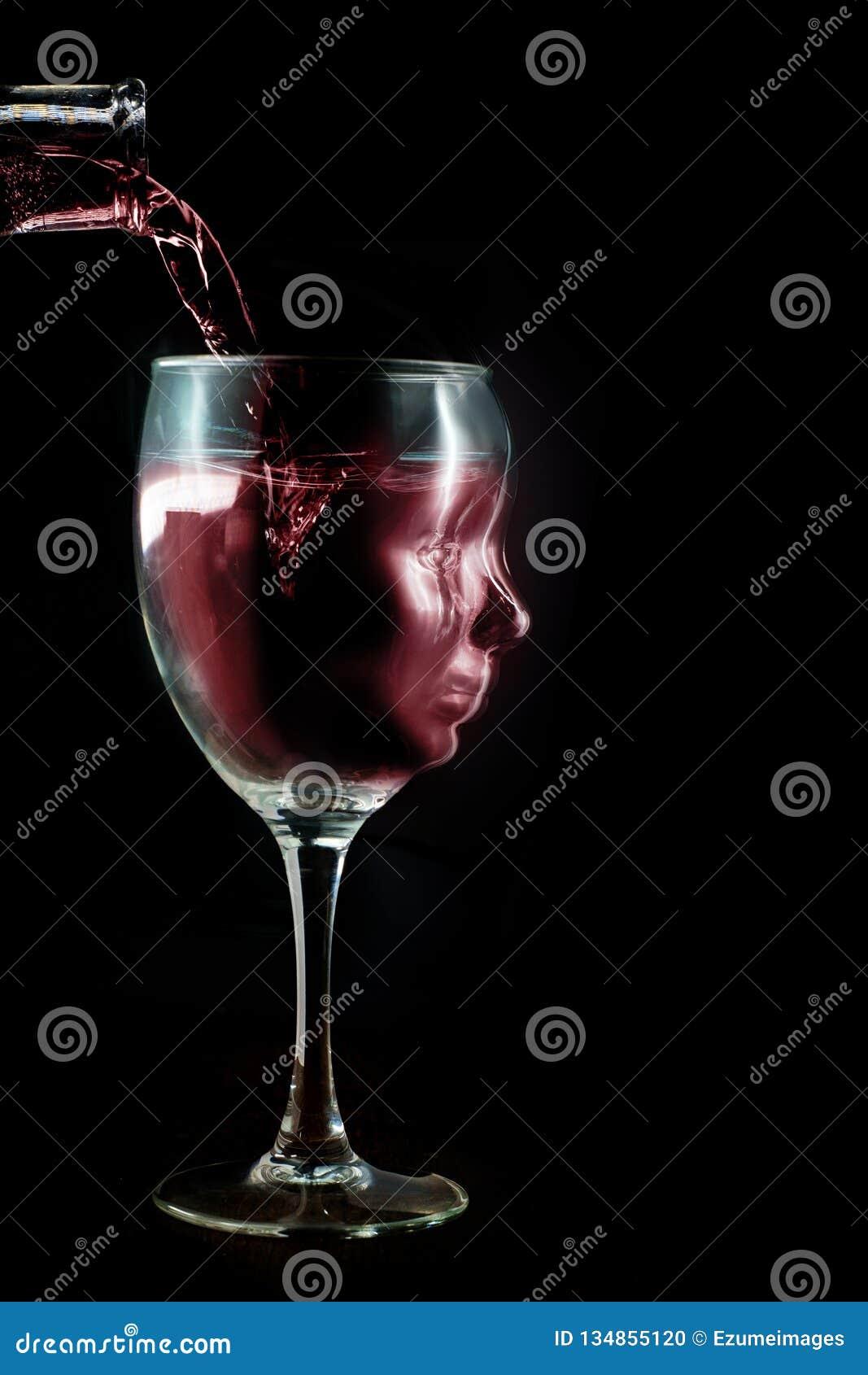Concept alcoolique de dépendance de vin