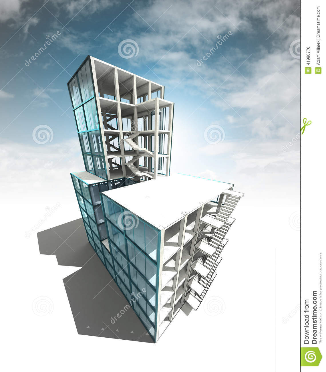 Concept of architectural building plan with sky render stock illustration image 41980770 - Build house plans online free concept ...