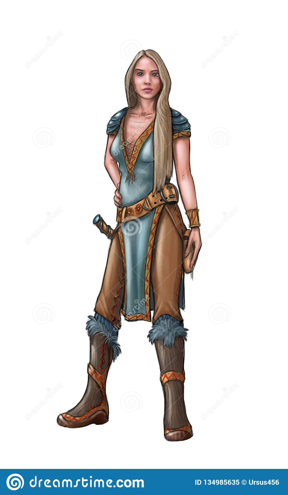 Concept Art Fantasy Illustration Of Beautiful Young Woman Warrior
