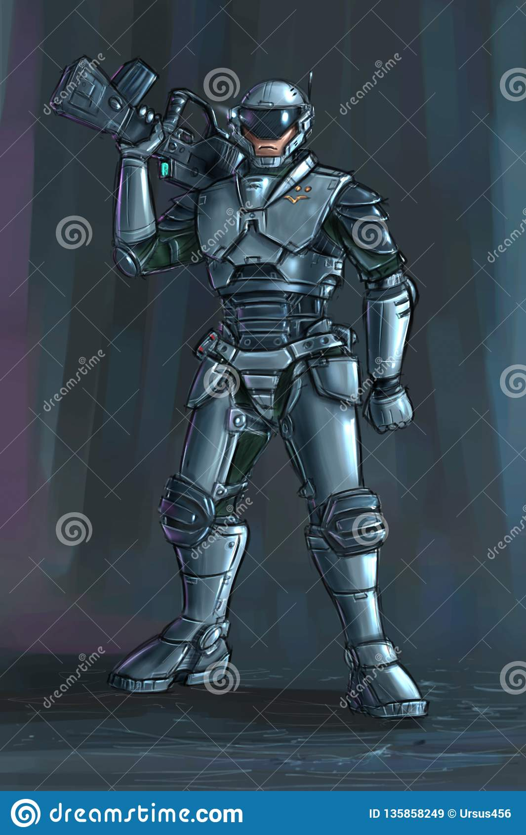 Concept Art Science Fiction Illustration Of Futuristic Soldier