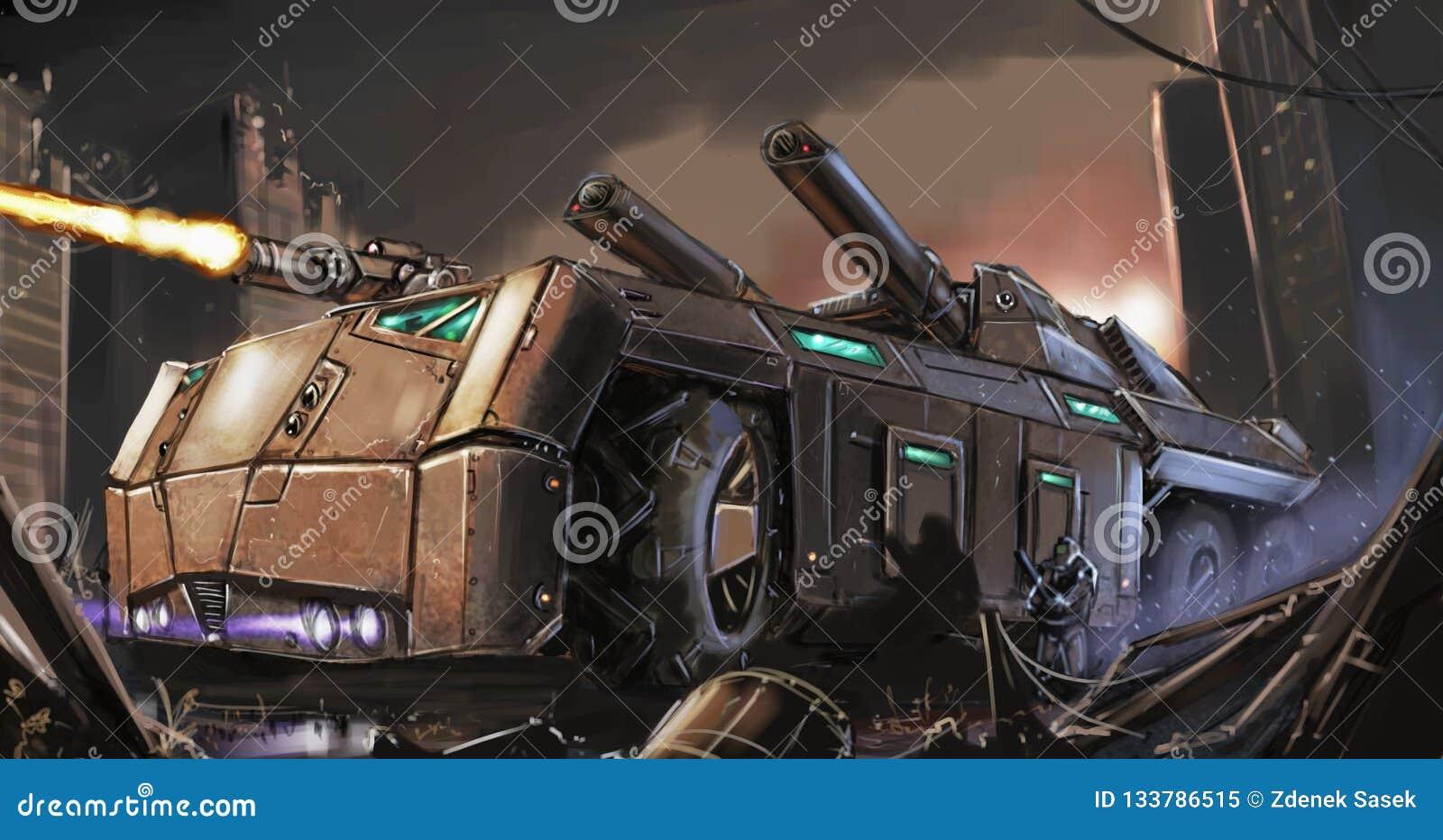 Concept Art Painting de véhicule blindé ou de réservoir Courrier-apocalyptique combattant dans des ruines de ville