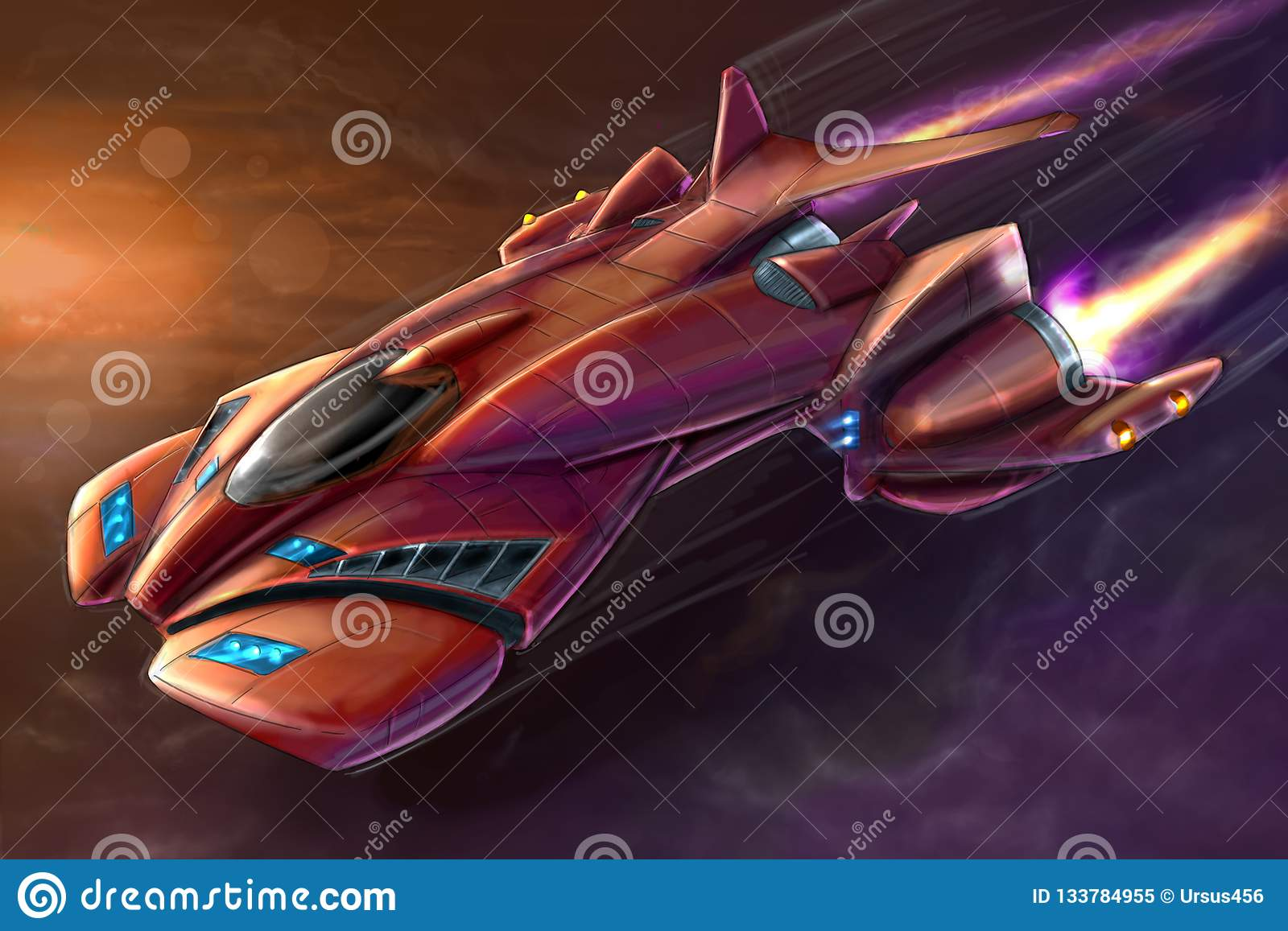 Concept Art Painting Of Futuristic Space Ship Or Aircraft