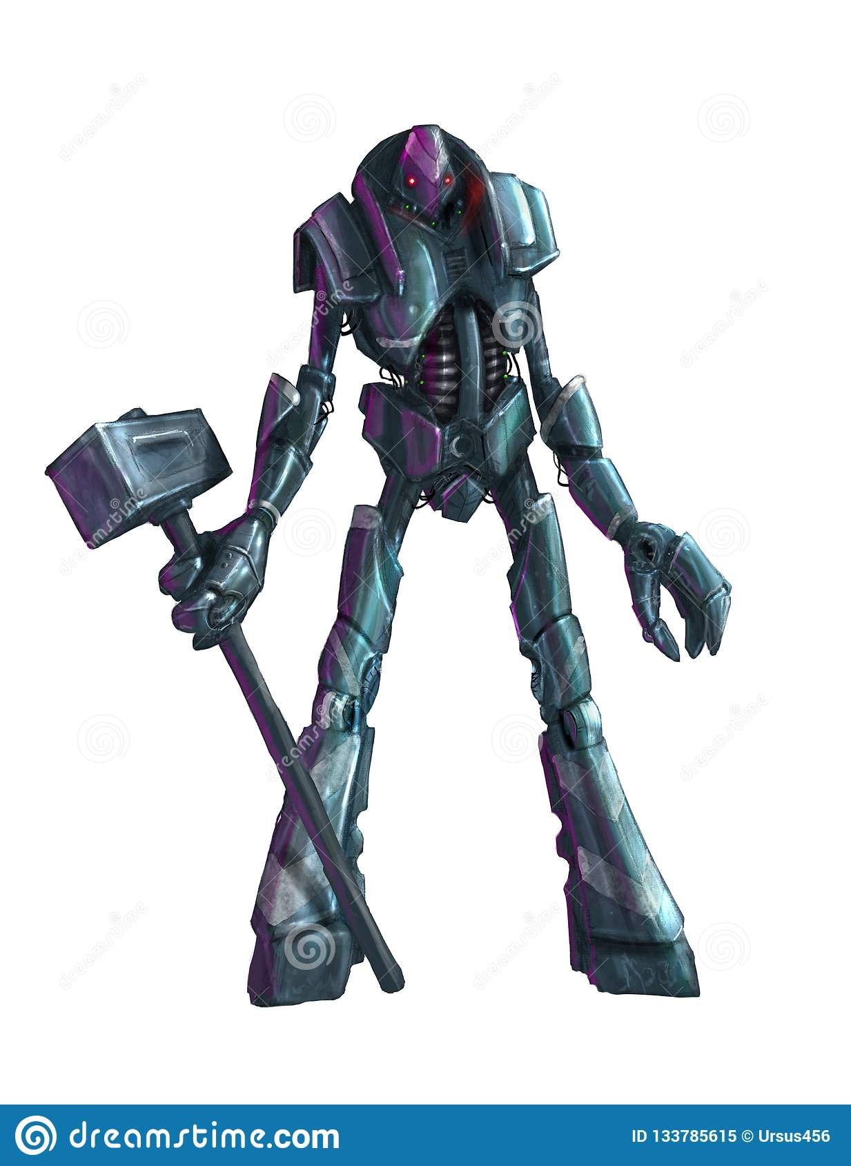 Concept Art Painting Of Isolated Humanoid Robot With Hammer