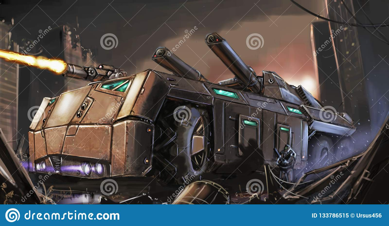 Concept Art Painting Of Post Apocalyptic Armored Vehicle Or