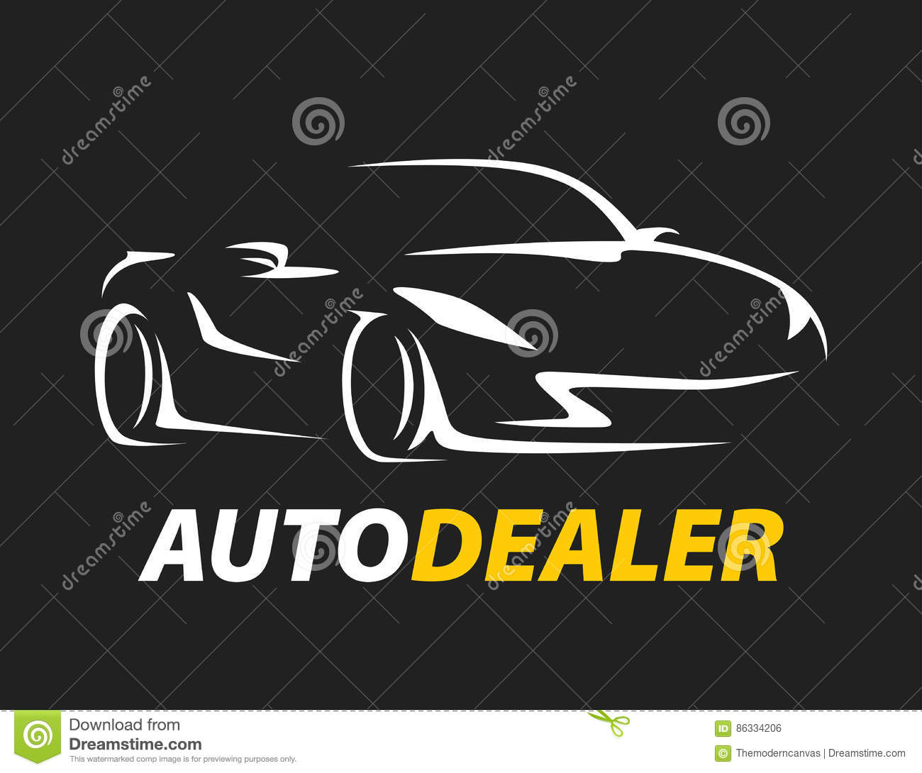 Concept Auto Dealer Car Logo With Supercar Sports Vehicle