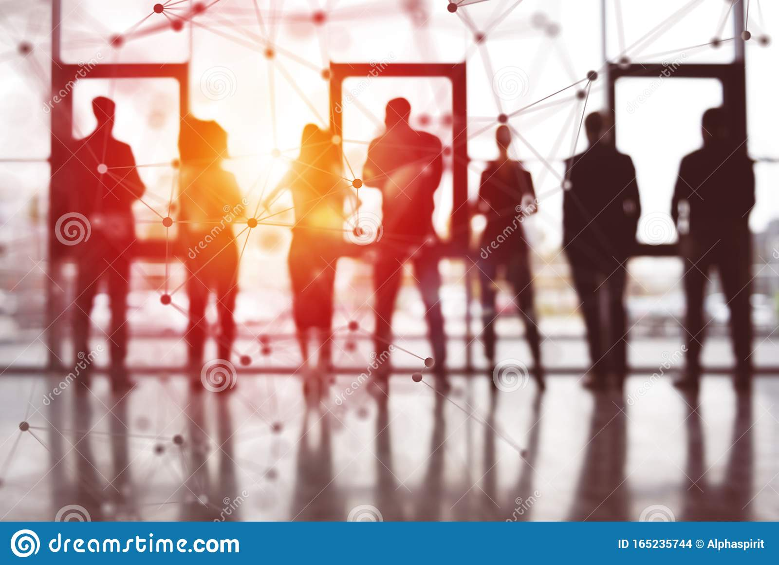 Concept background with business people silhouette looking out of the window. Double exposure with network effetct