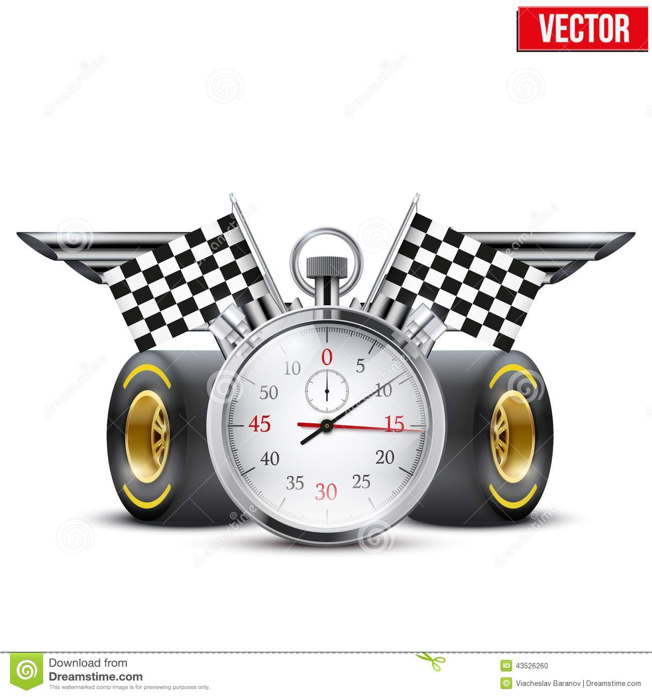 Concept banner Car racing and championship. Stopwatch and tubes in ...