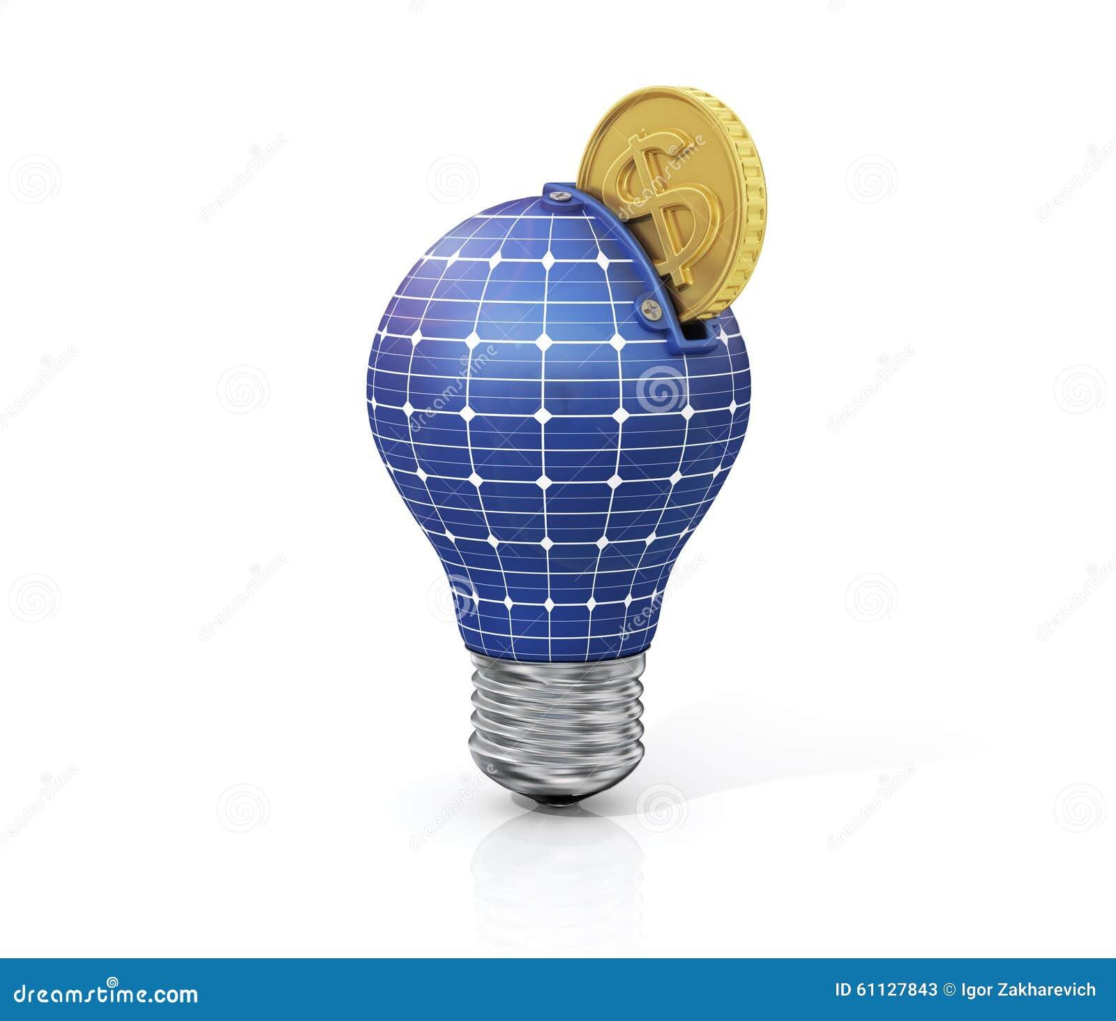 Concept besparingsgeld op zonne-energie
