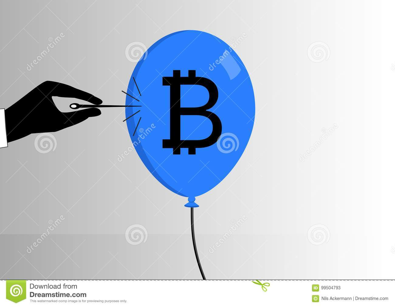 Concept of bitcoin bubble burst or decline of the bitcoin currency.