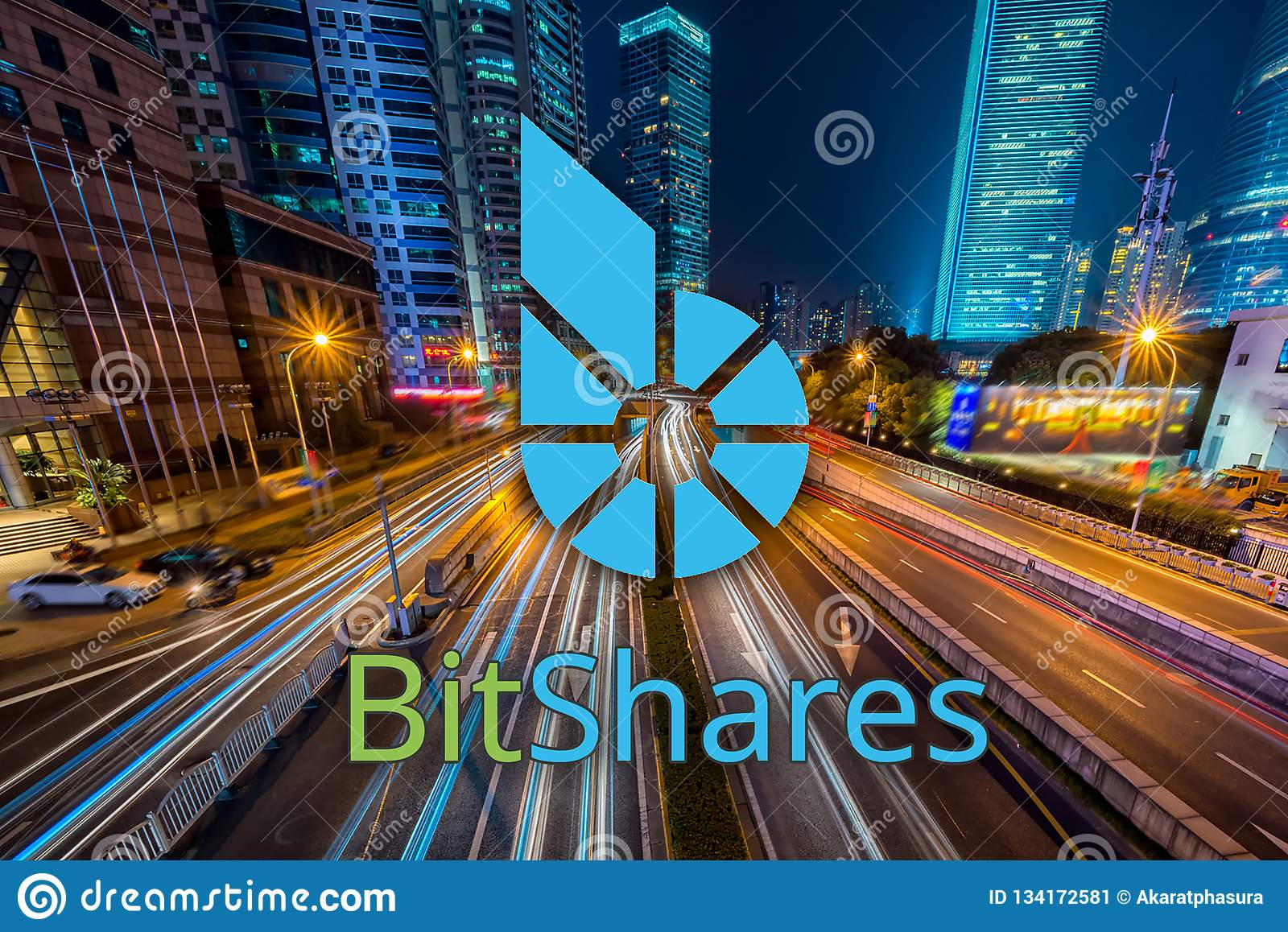 Concept of Bitshares moving fast on the road, a Cryptocurrency blockchain platform , Digital money