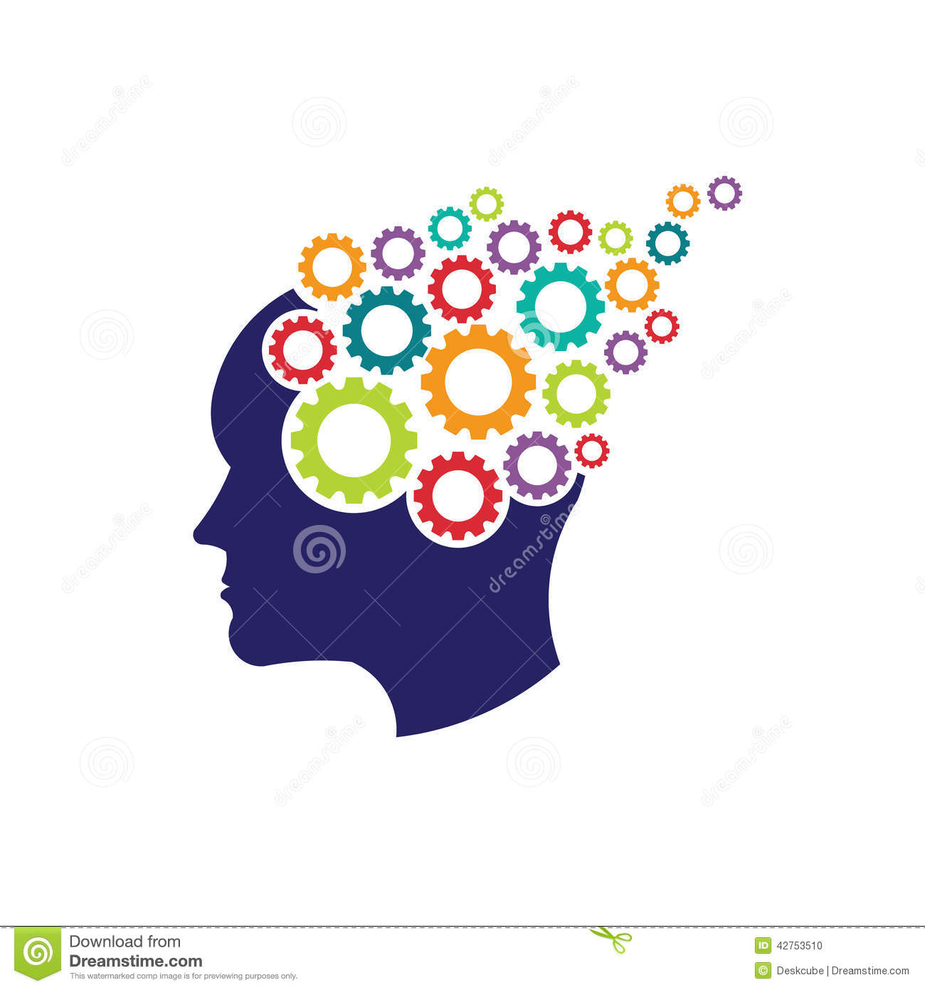 Concept Of Brain Head With Gears Logo Stock Vector - Image ...
