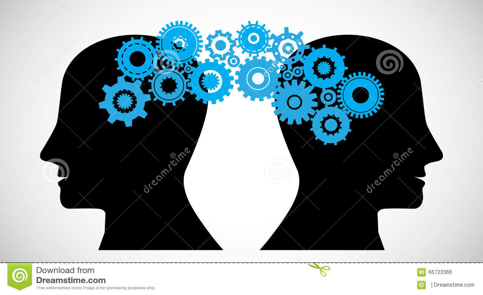 Concept Of Brain Storming, Knowledge Sharing Between ... Human Head Brain Vector
