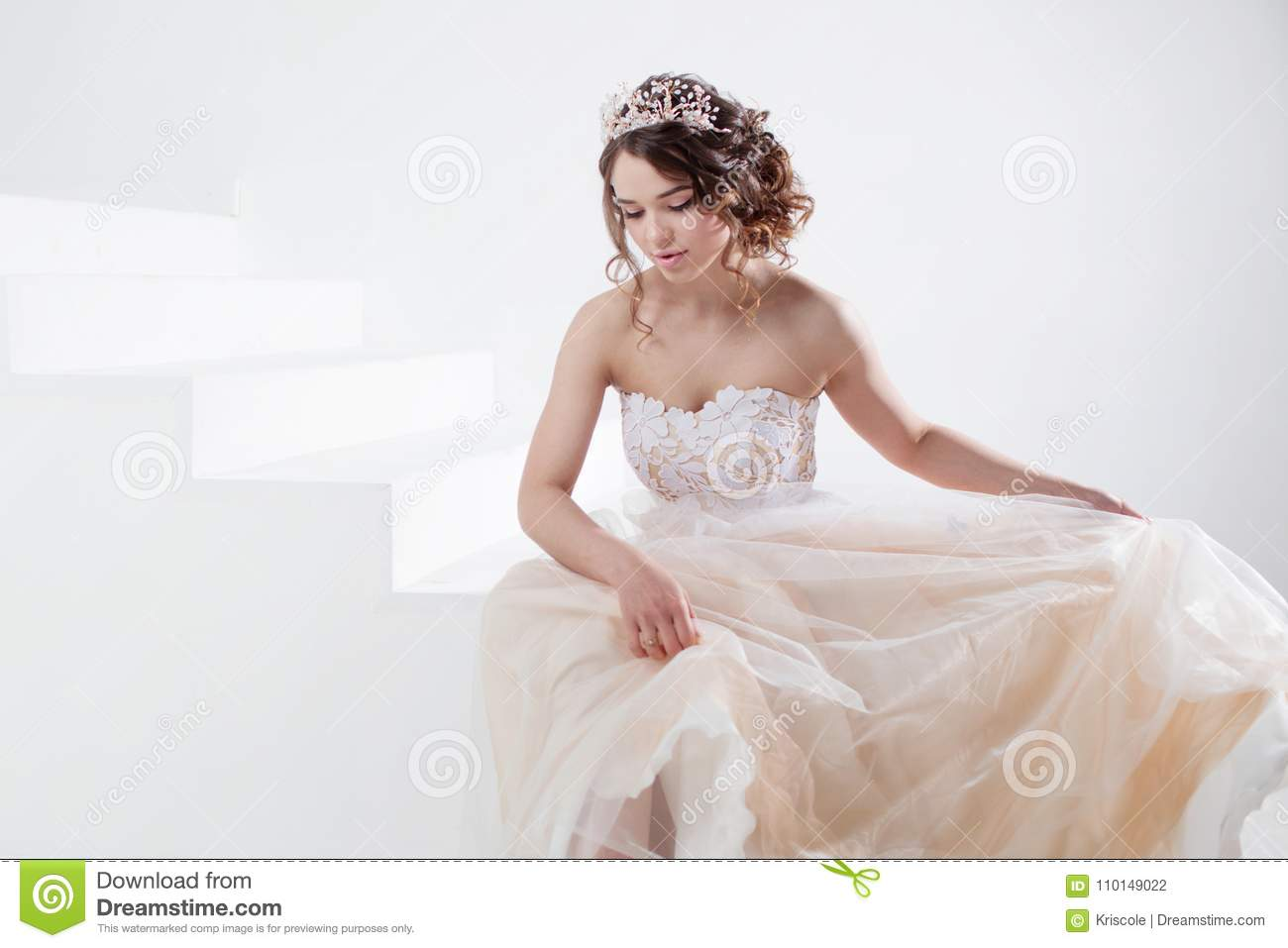 Concept Of Bride Going Towards Future Happiness. Beautiful Girl In A ...