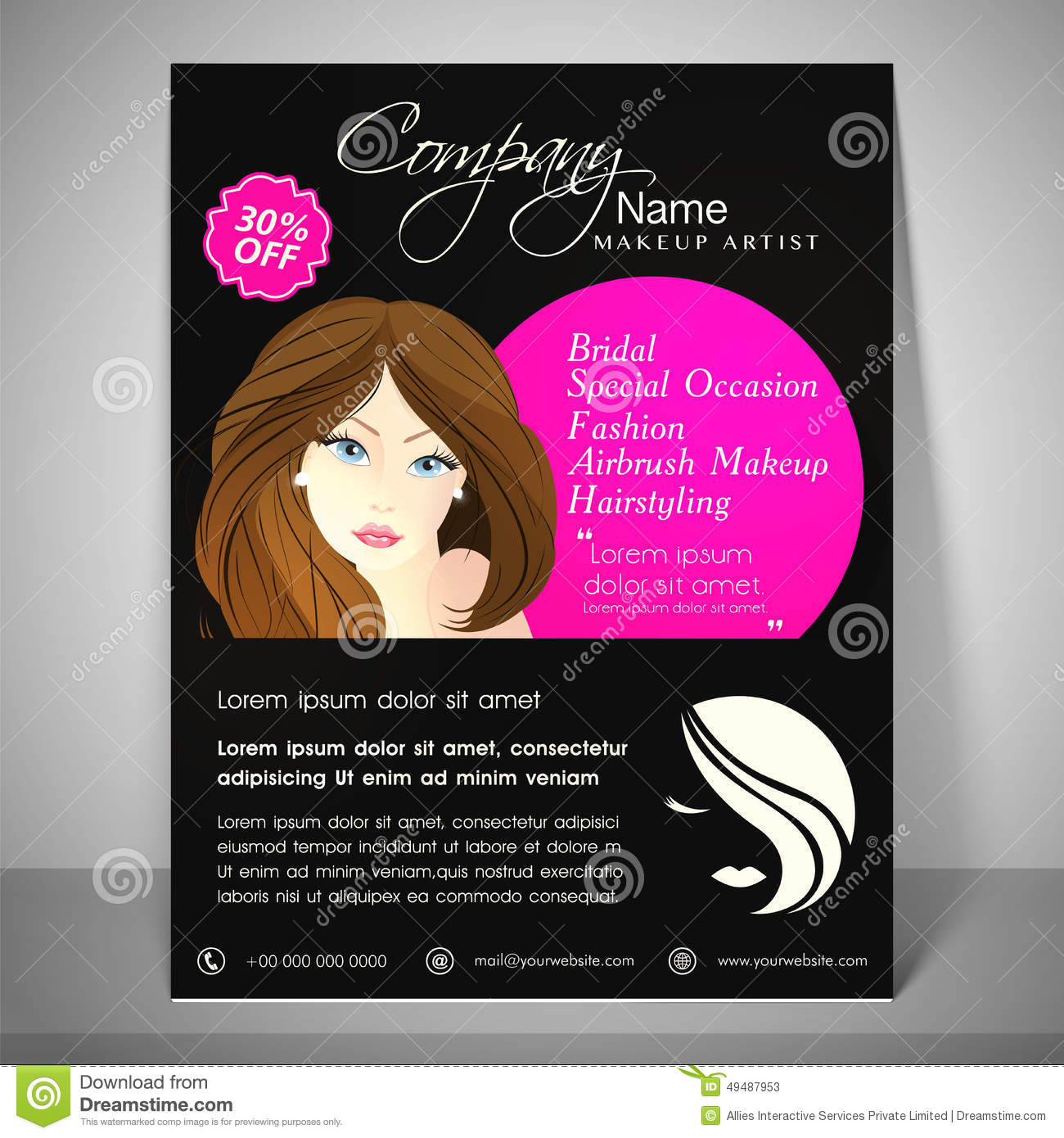 Concept of brochure flyer and template for beauty parlour for Address beauty salon