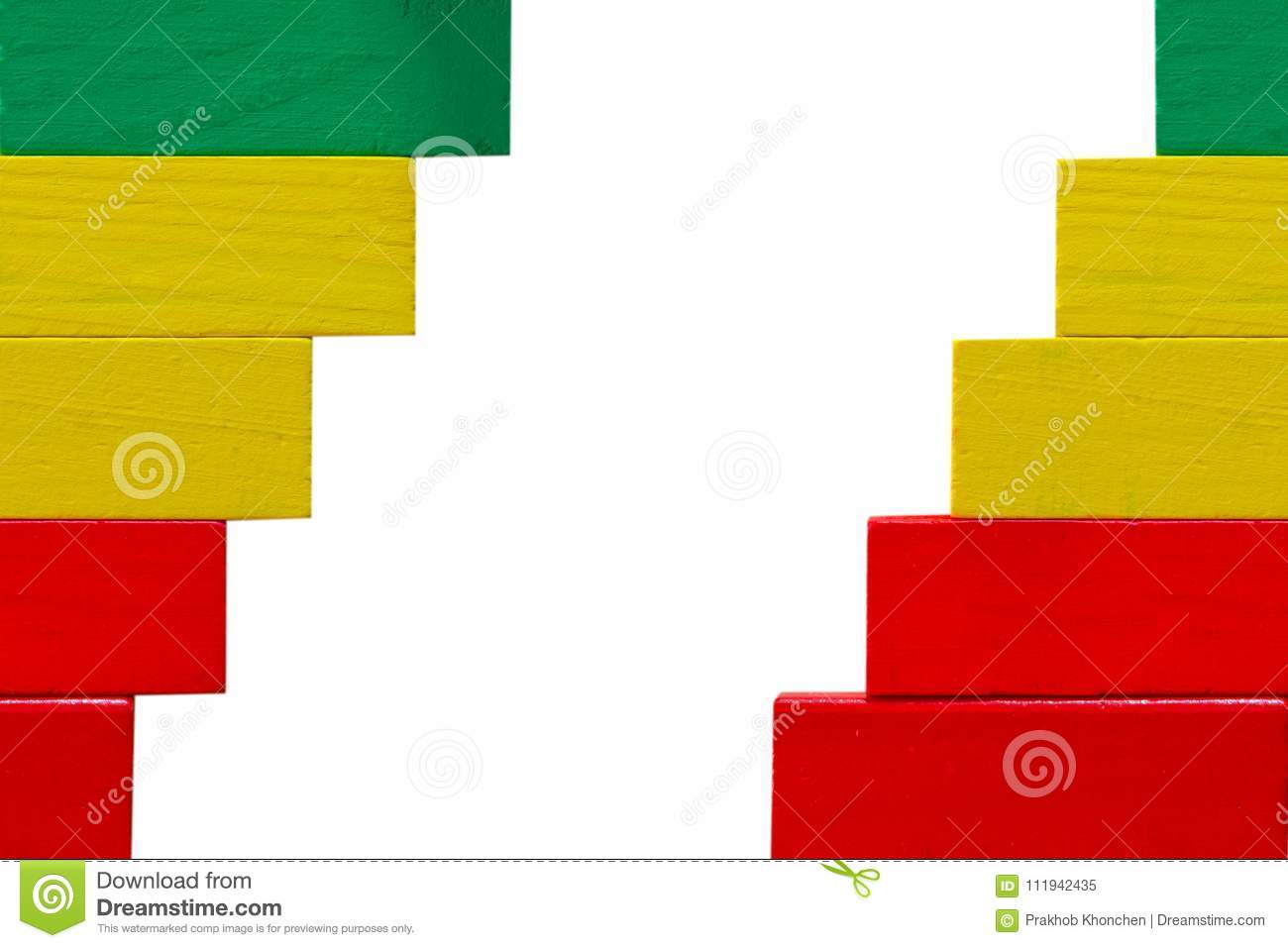 Concept of building success foundation, Arrangement colorful puzzle wooden blocks left and right in the shape of a staircase