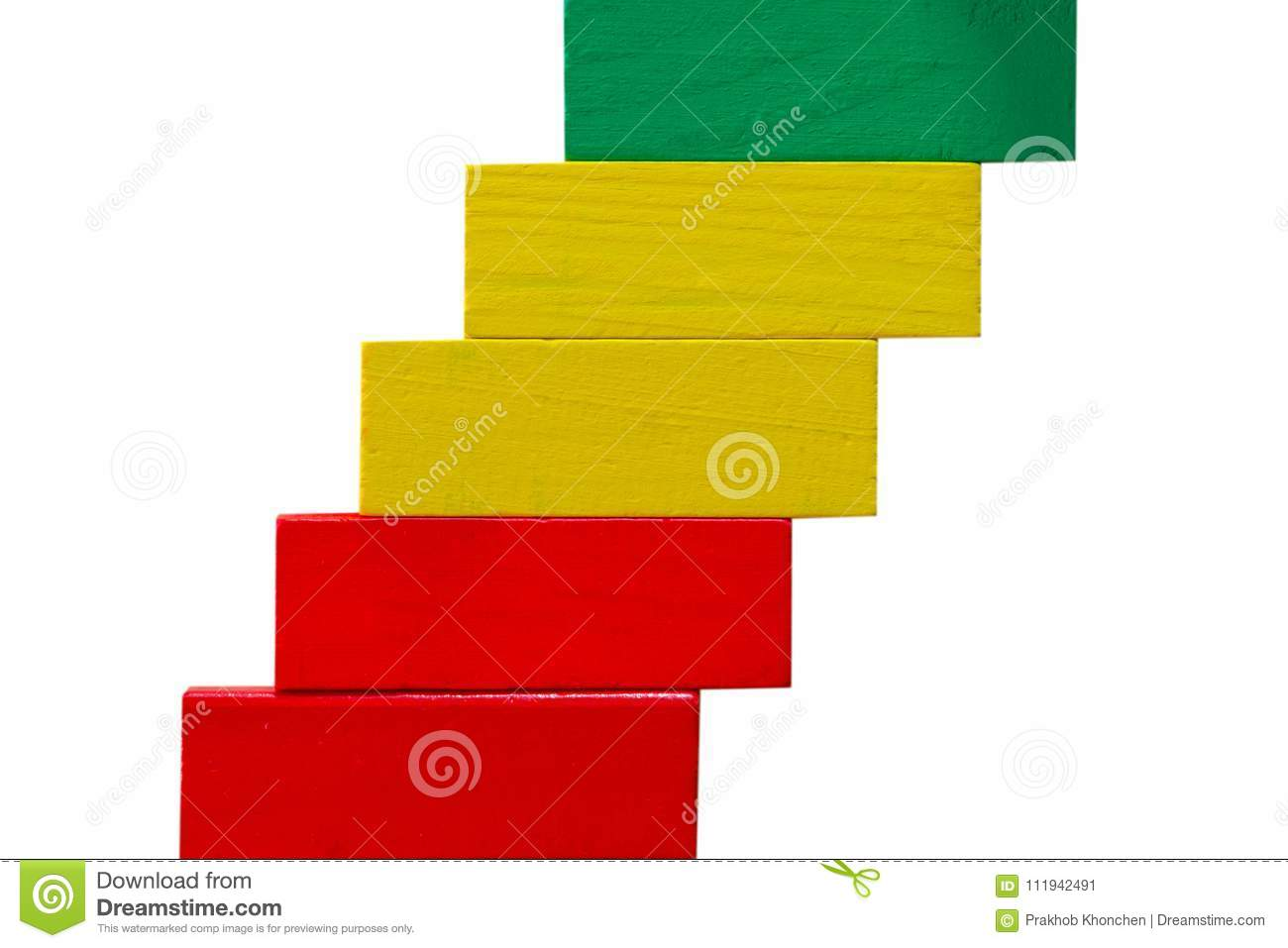 Concept of building success foundation, Arrangement colorful puzzle wooden blocks in the shape of a staircase isolated white back