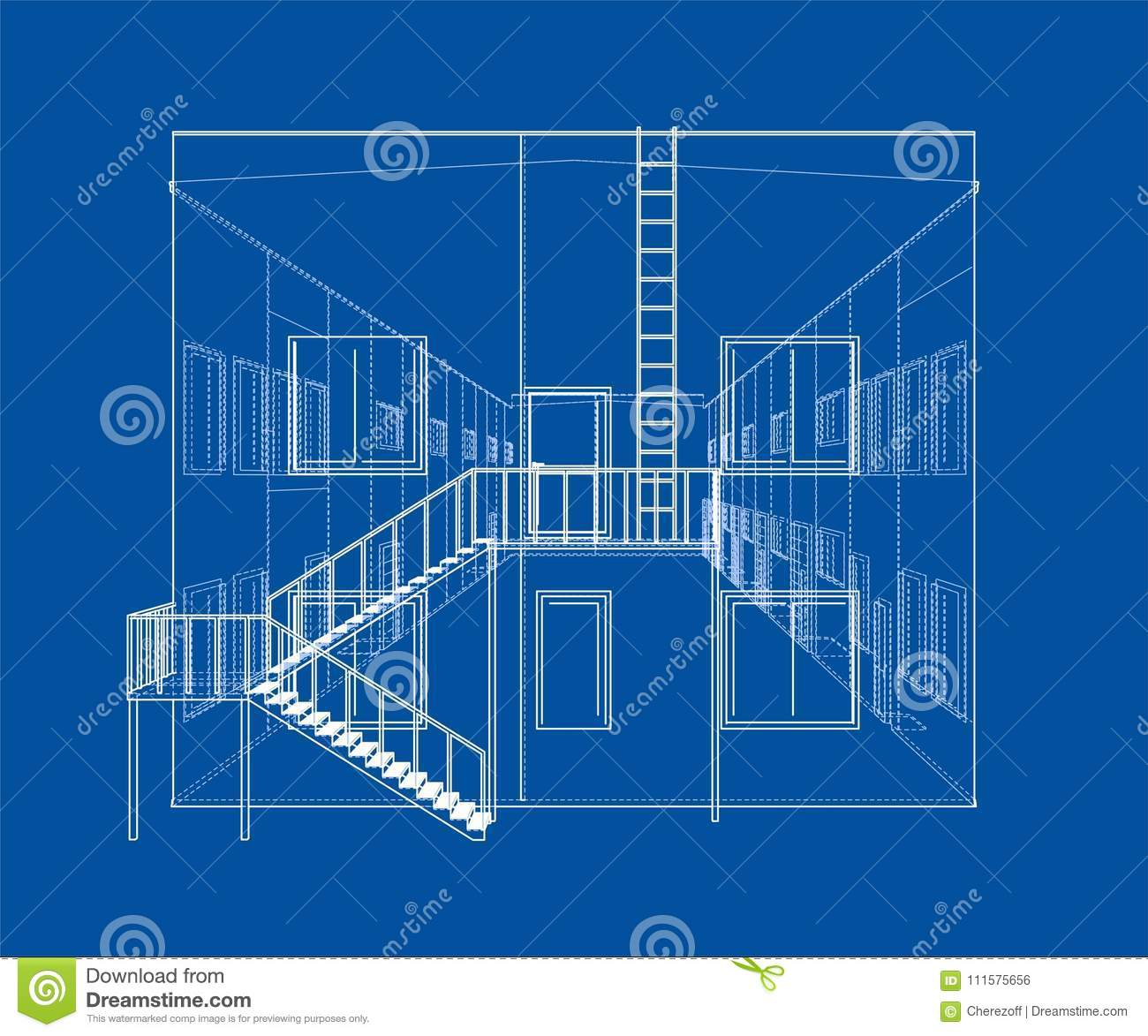 Concept Of Building Vector Rendering 3d Stock Apartment Wiring Diagram Wire Frame Style The Layers Visible And Invisible Lines Are Separated