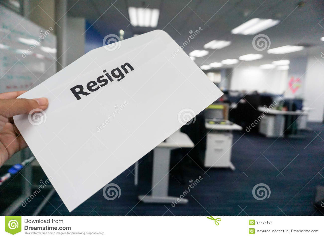 concept of business people submit resignation letter stock image