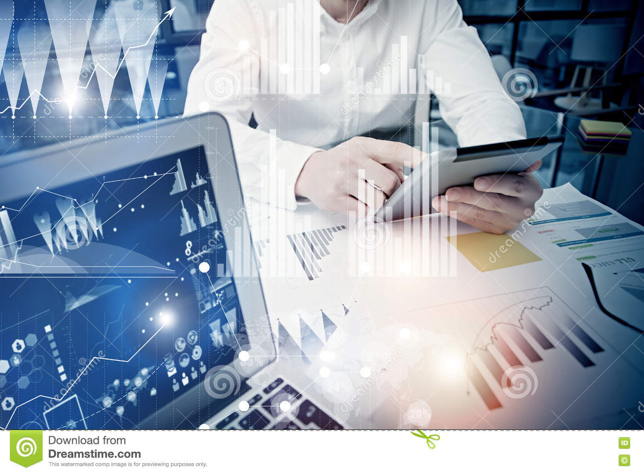 Concept businessman touching modern tablet screen.Trader manager working new private banking project office.Using