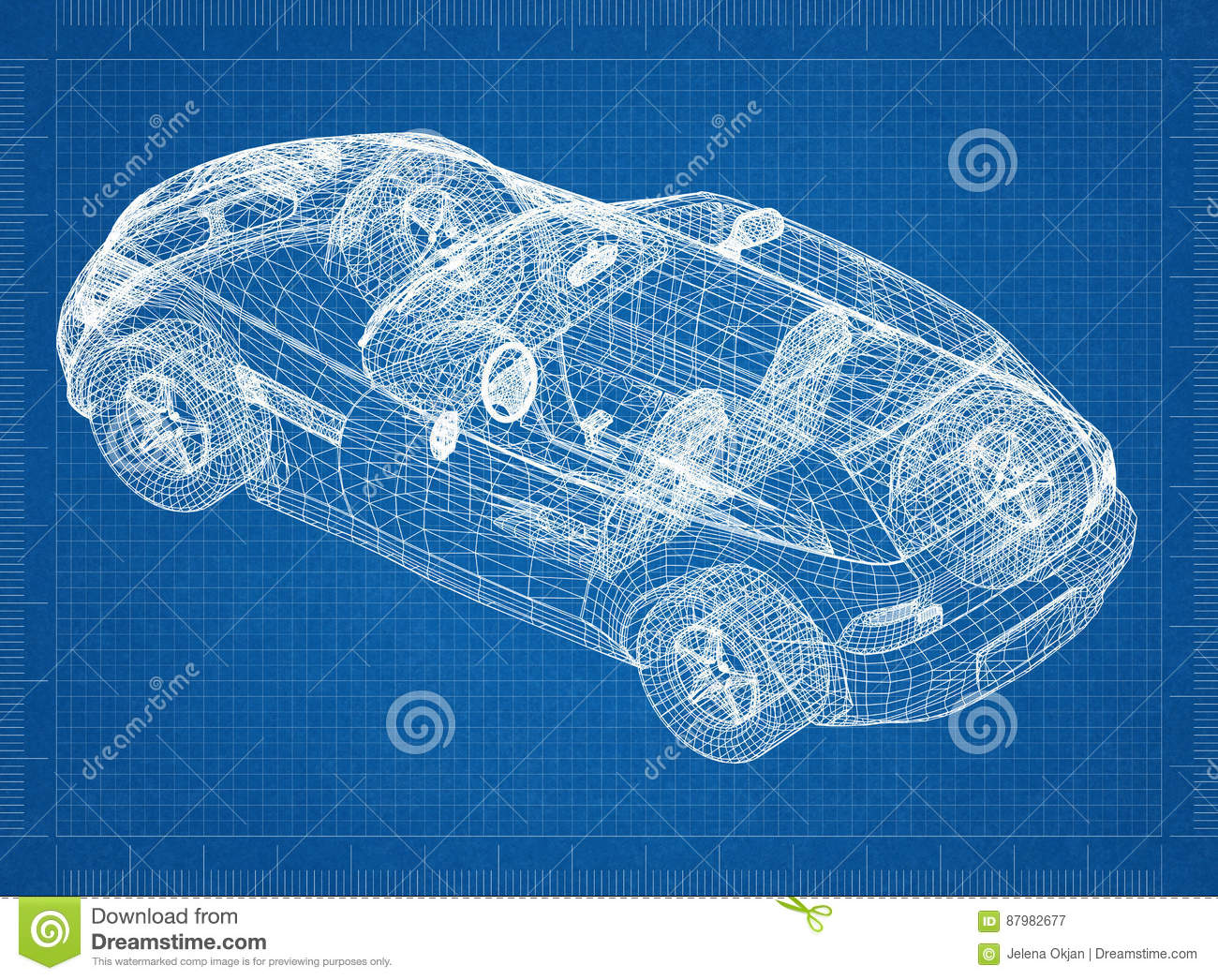 Car engine wireframe technical draw stock illustration concept car blueprint 3d perspective royalty free stock photography malvernweather Images