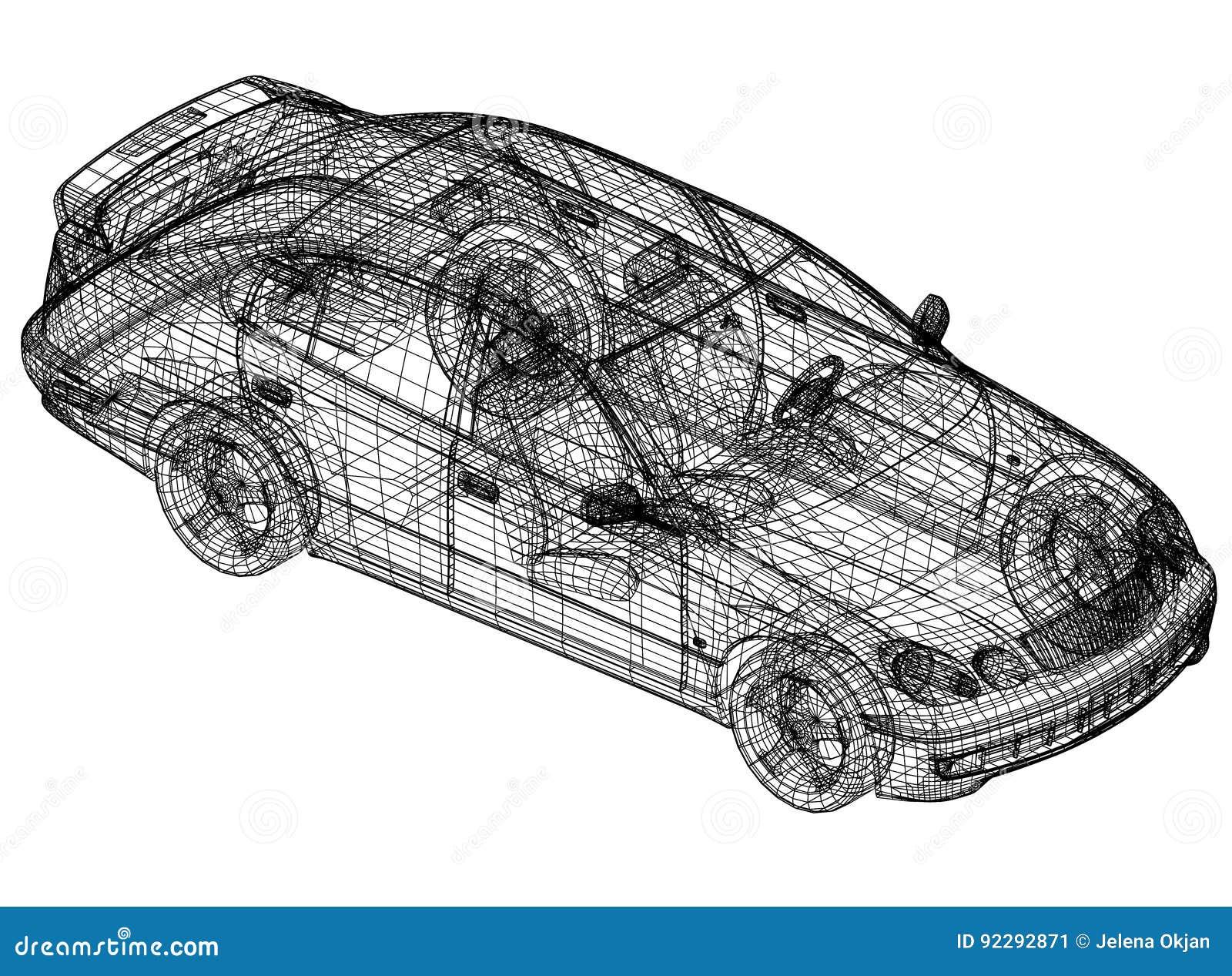 Concept car blueprint – 3D perspective