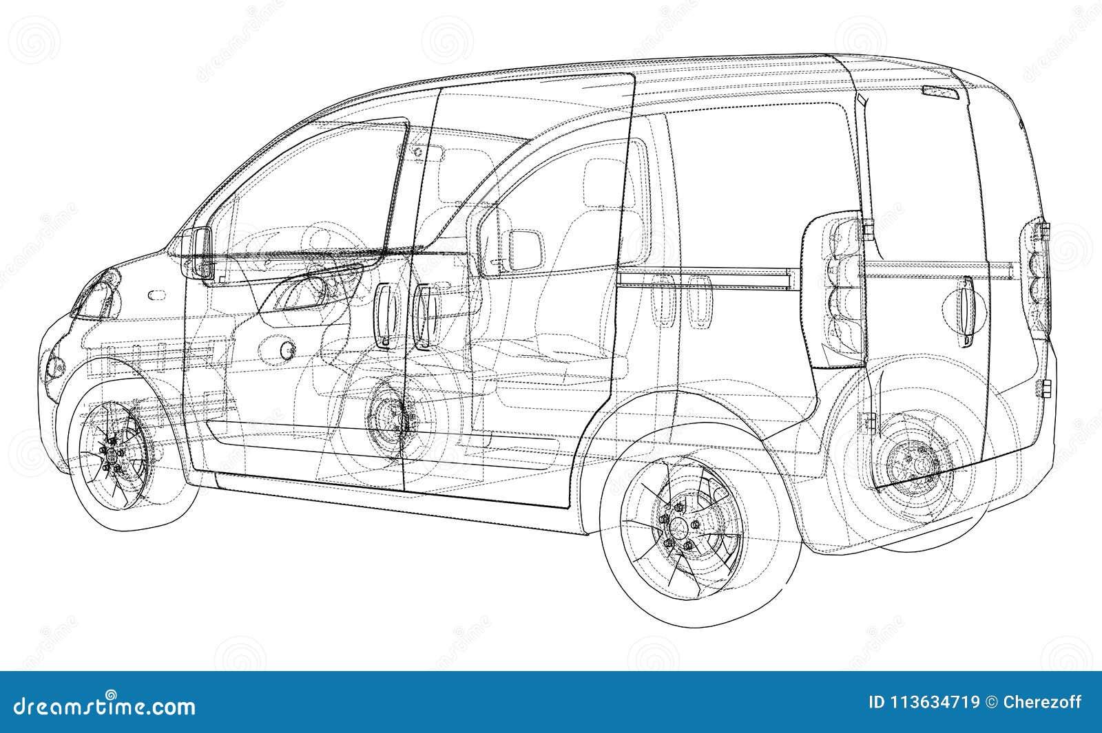 Concept car blueprint stock illustration. Illustration of auto ...